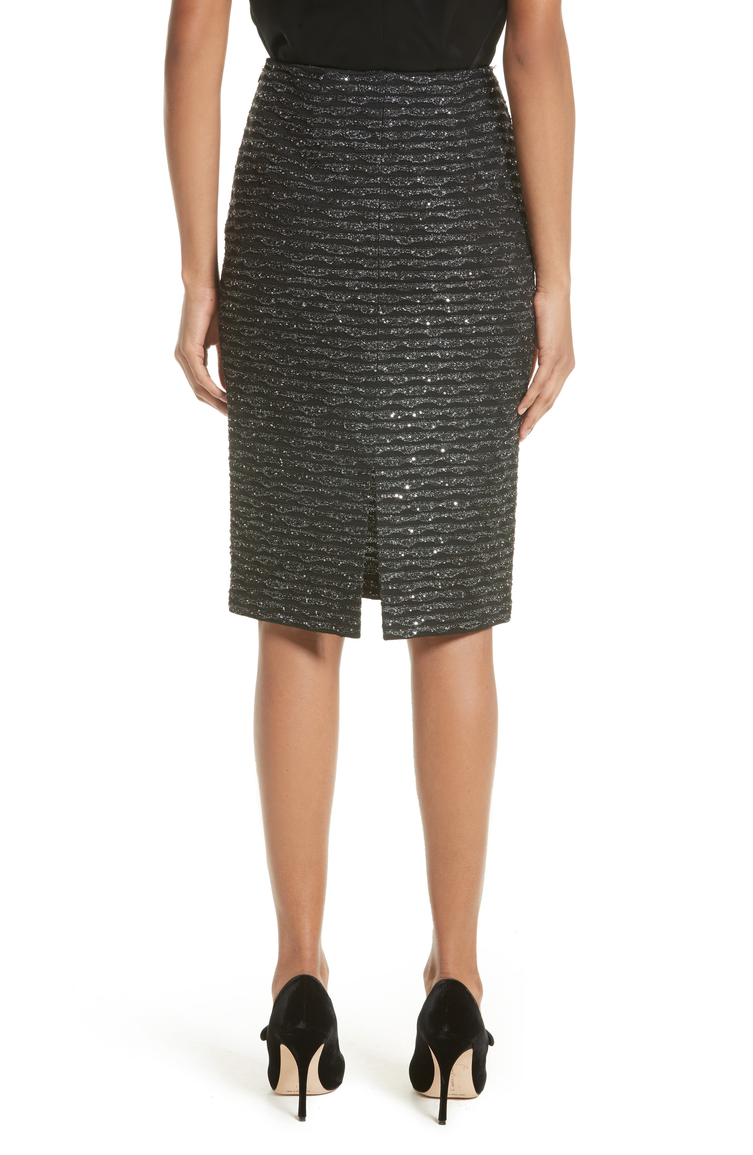 Sparkle Wave Tweed Knit Skirt,                             Alternate thumbnail 2, color,                             001
