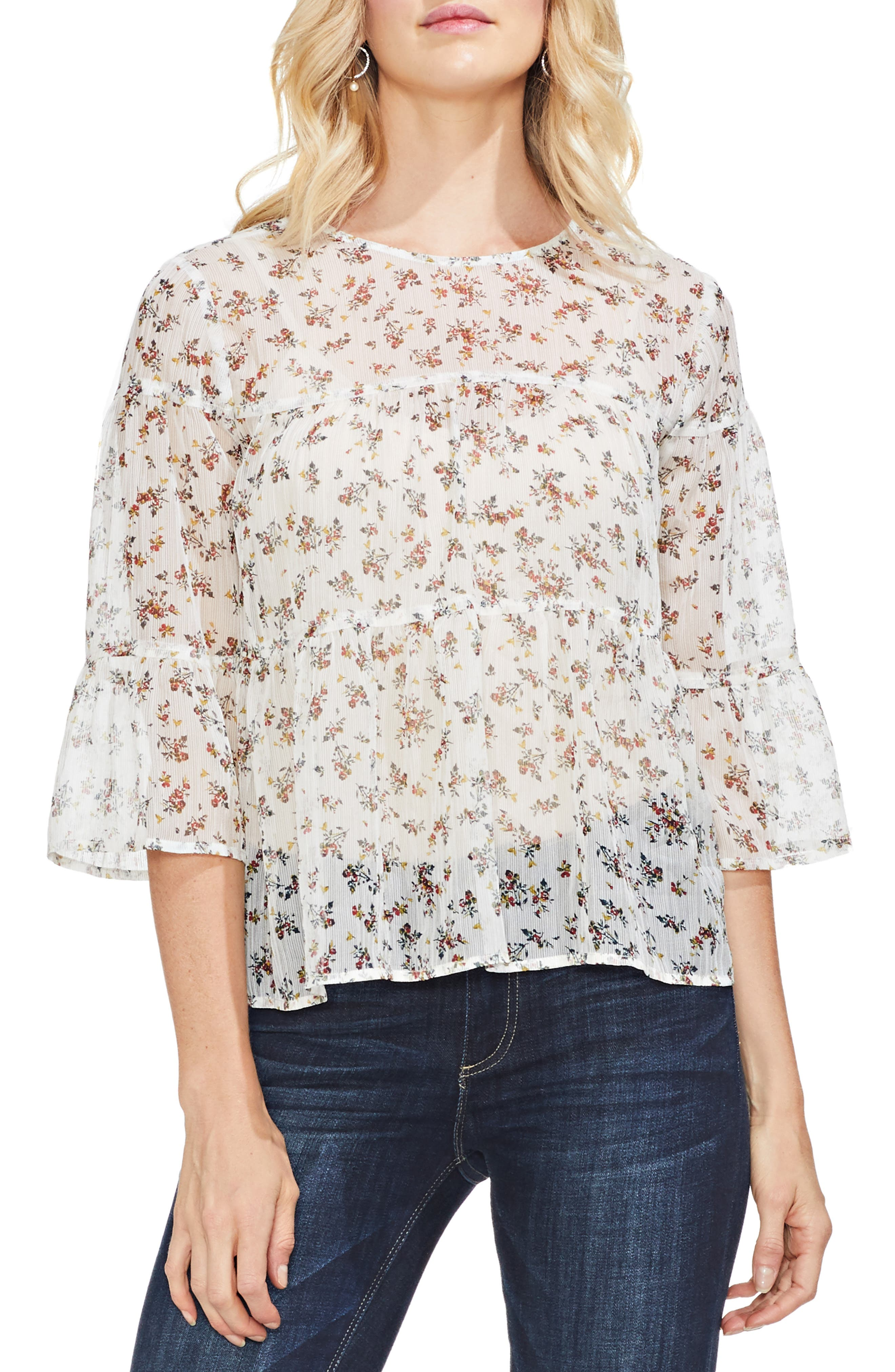 VINCE CAMUTO, Ditsy Manor Tiered Ruffle Blouse, Main thumbnail 1, color, 108