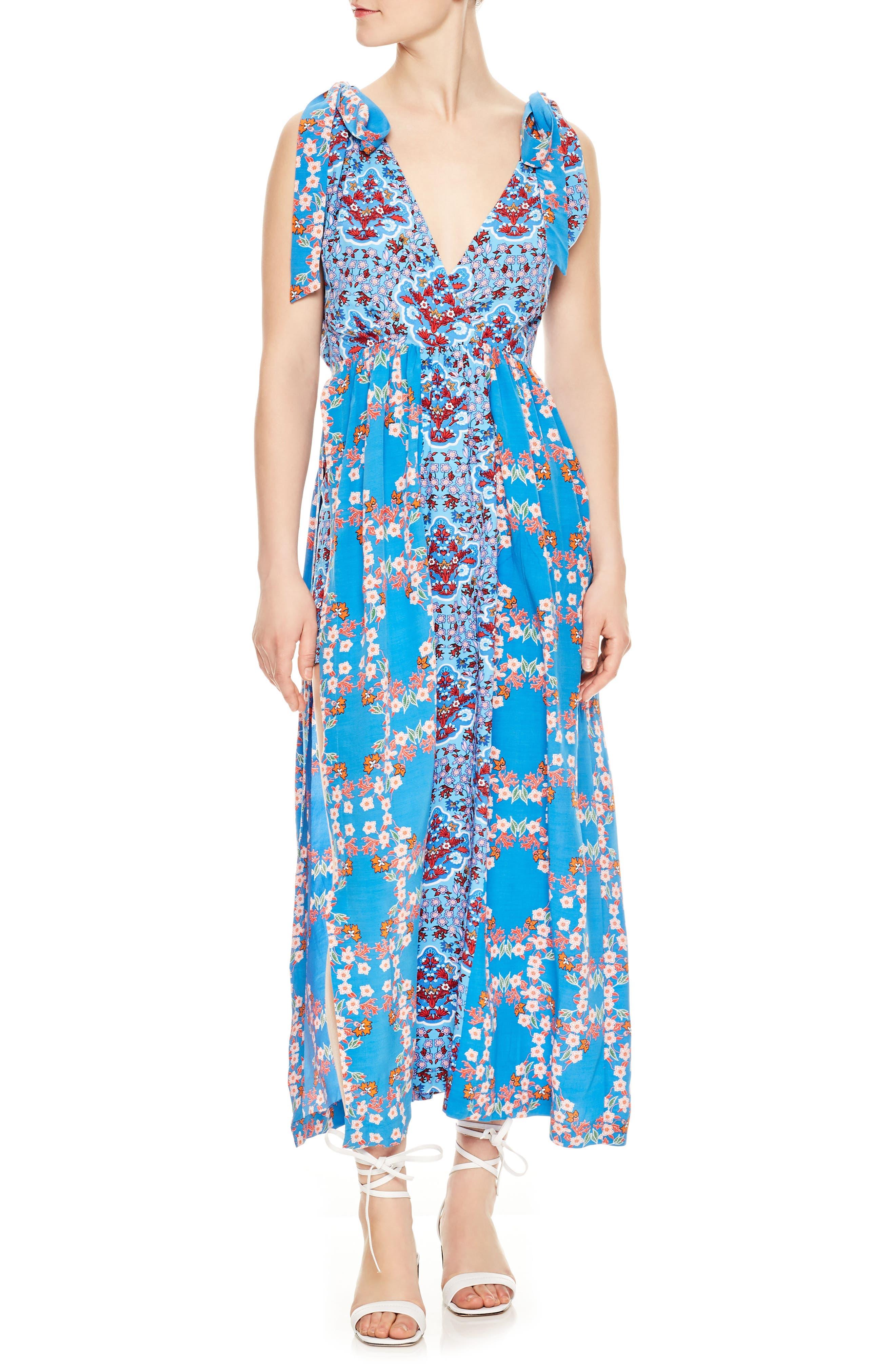 Floral Plunging Slit Dress,                             Alternate thumbnail 5, color,                             400
