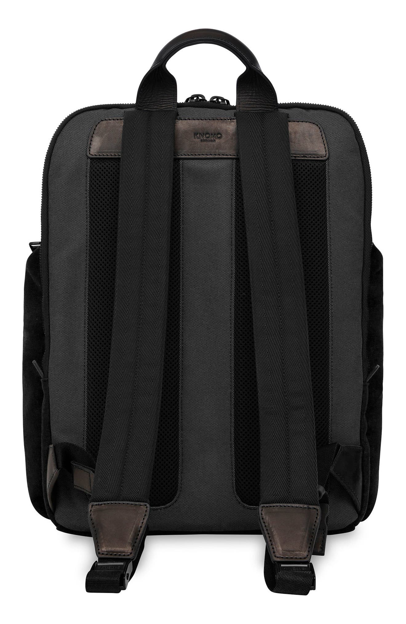 Knomo Fulham Thurloe Waxed Canvas Backpack with RFID Pocket,                             Alternate thumbnail 2, color,                             BLACK