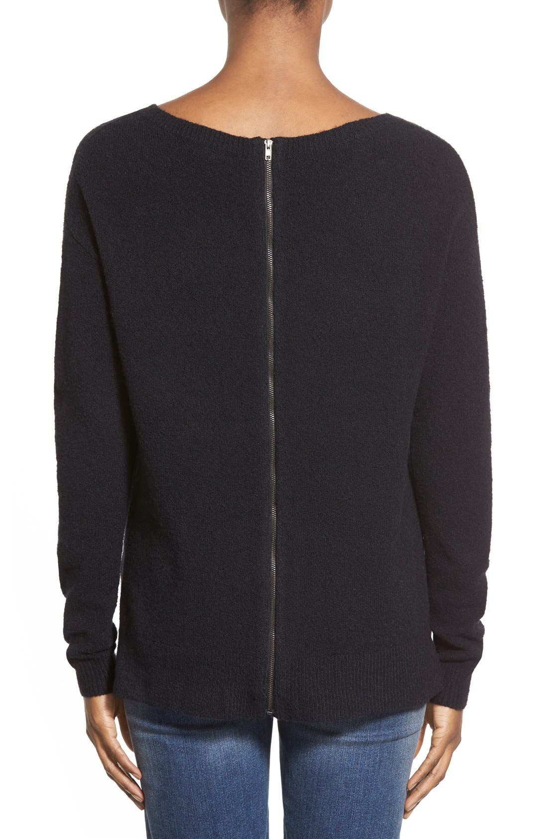 Back Zip High/Low Sweater,                             Alternate thumbnail 7, color,                             001