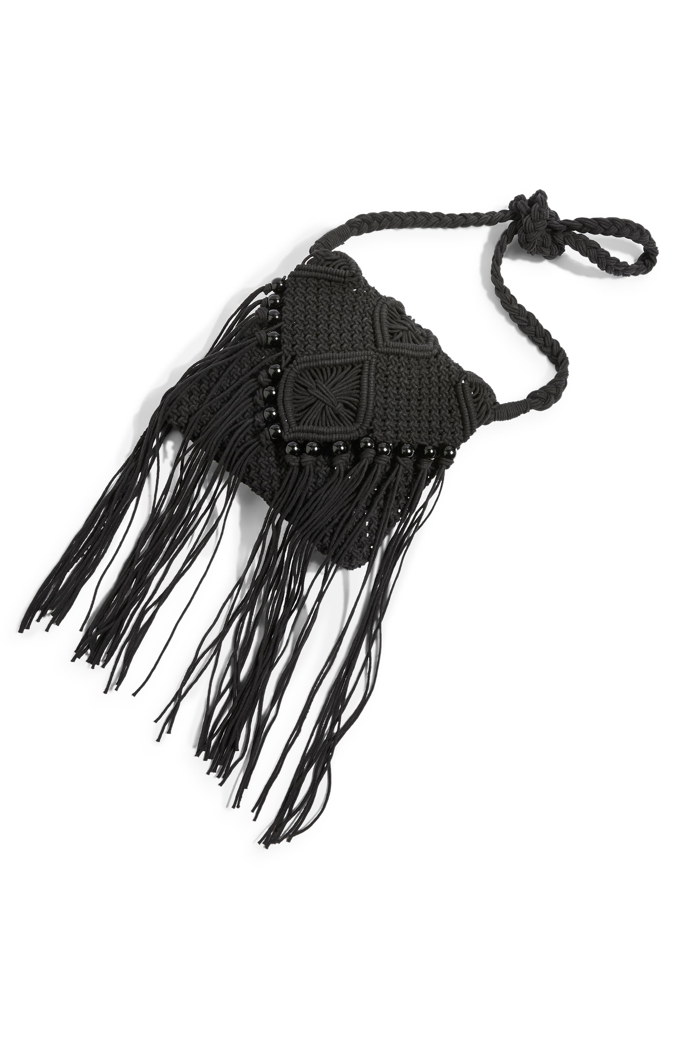 Macrame Crossbody Bag,                             Alternate thumbnail 4, color,                             BLACK