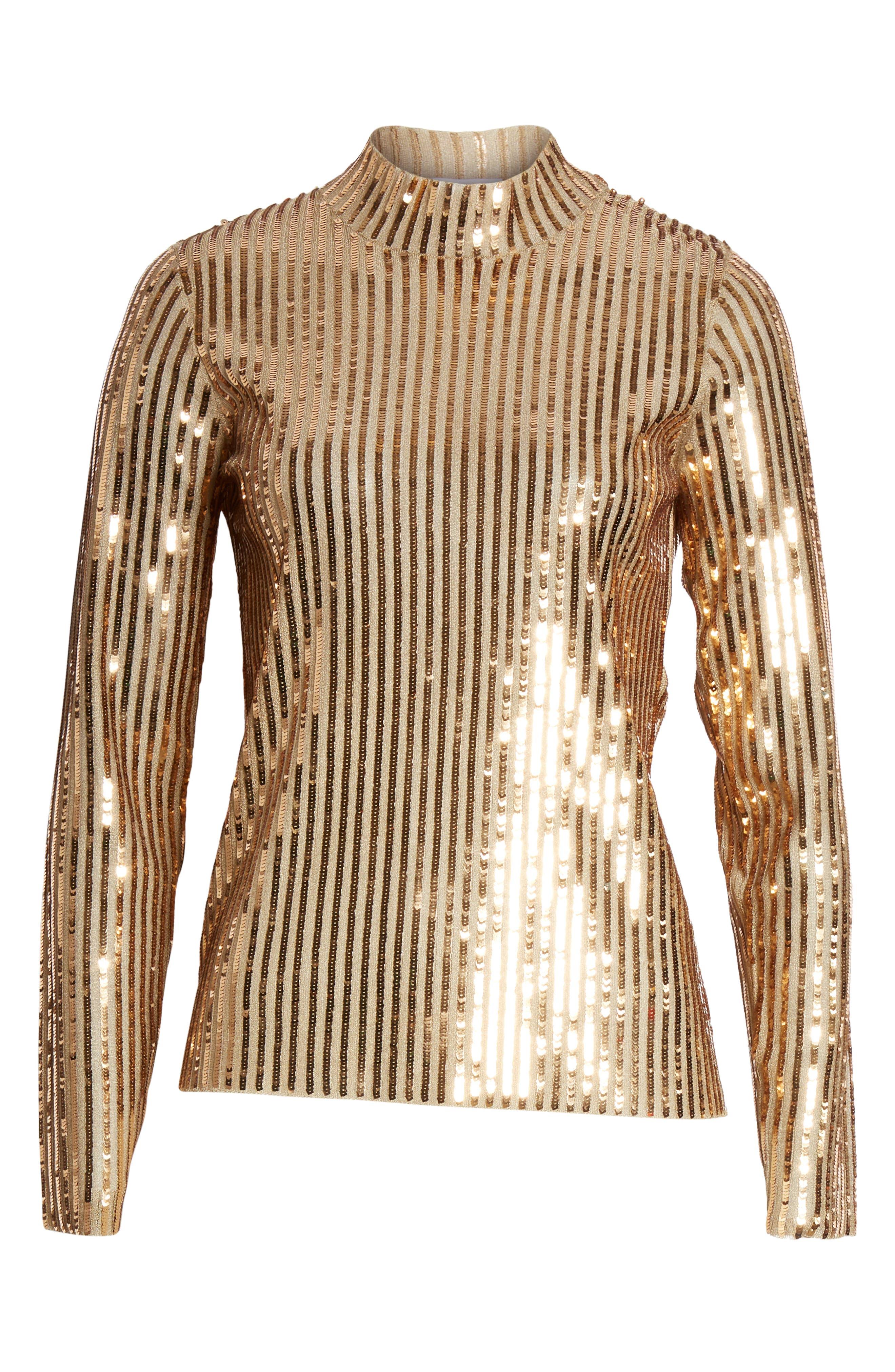 Grace Gold Sequins Top,                             Alternate thumbnail 6, color,                             GOLD