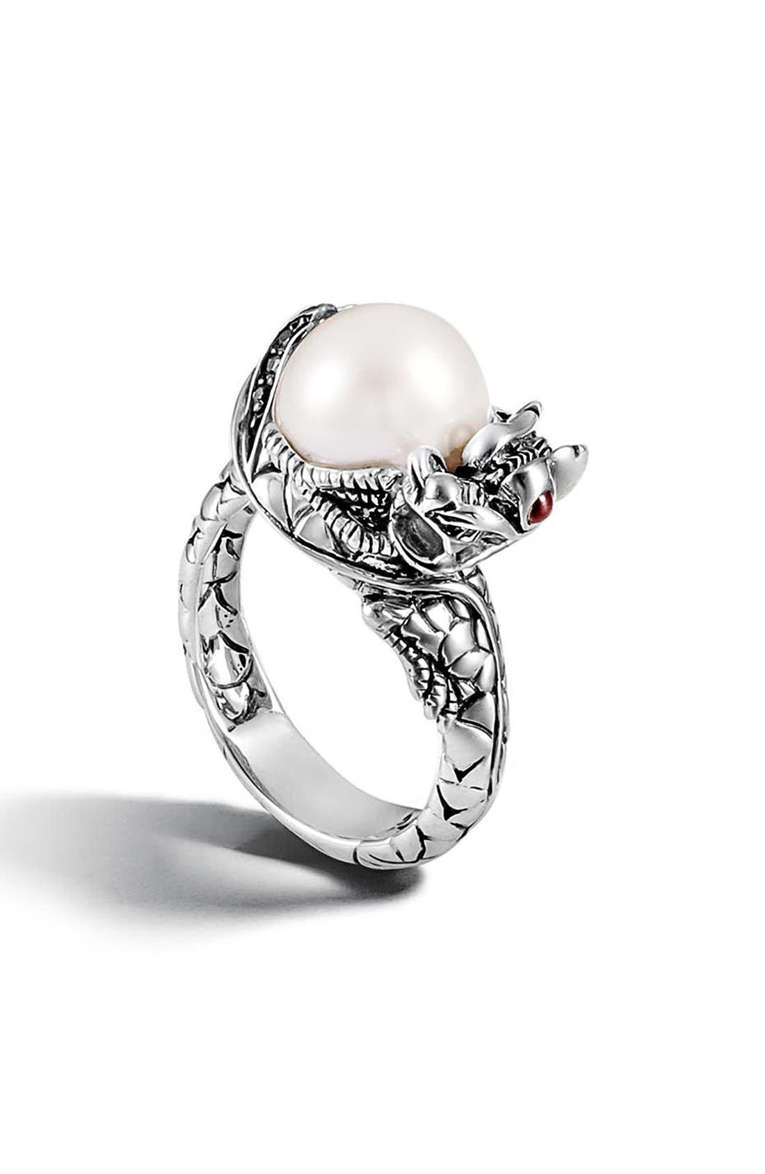 'Naga - Lava' Dragon & Pearl Ring,                             Main thumbnail 1, color,                             SILVER