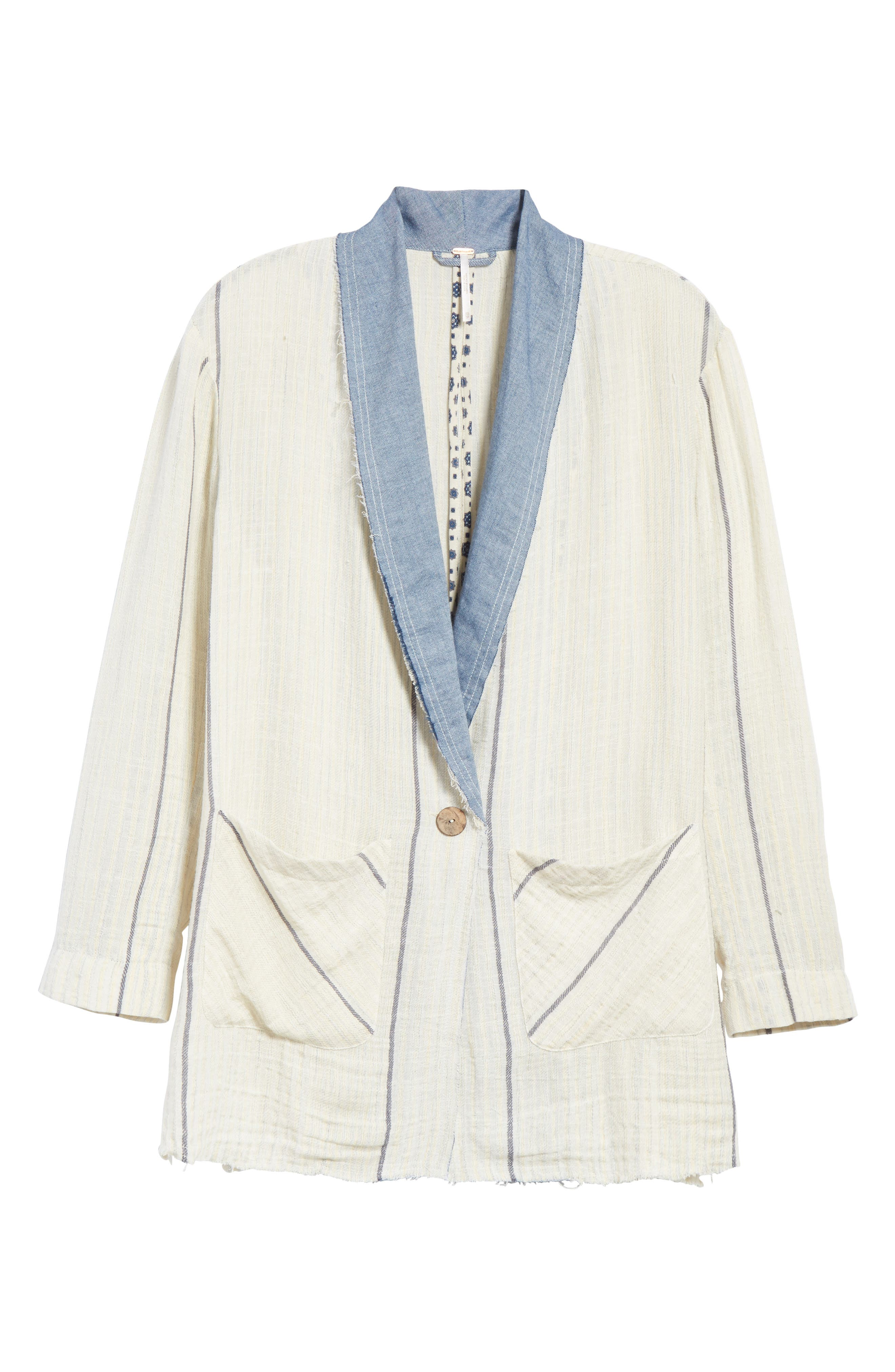 Aria Denim Collar Blazer,                             Alternate thumbnail 5, color,                             900