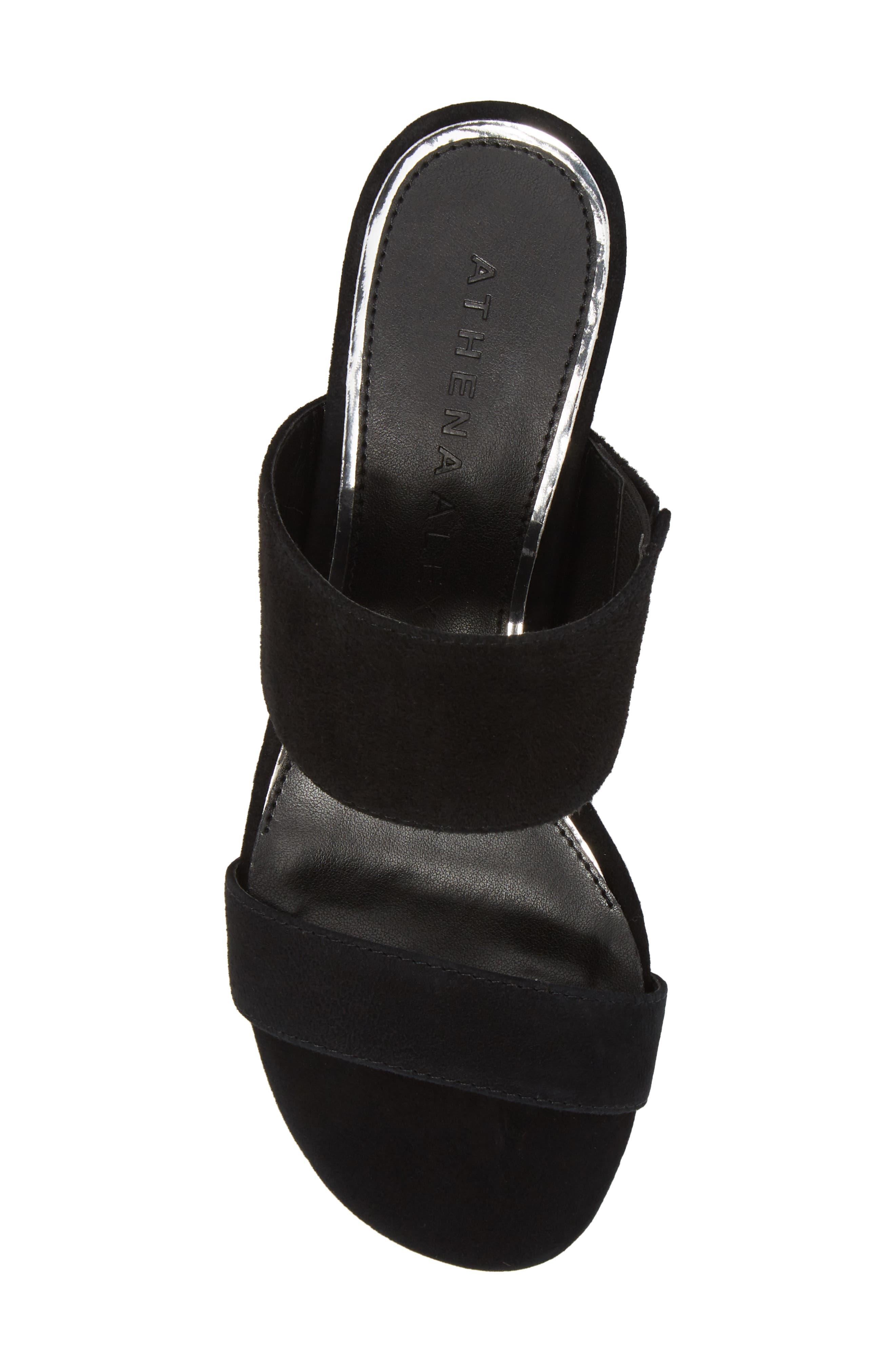 Burlington Wedge Slide Sandal,                             Alternate thumbnail 5, color,                             BLACK SUEDE