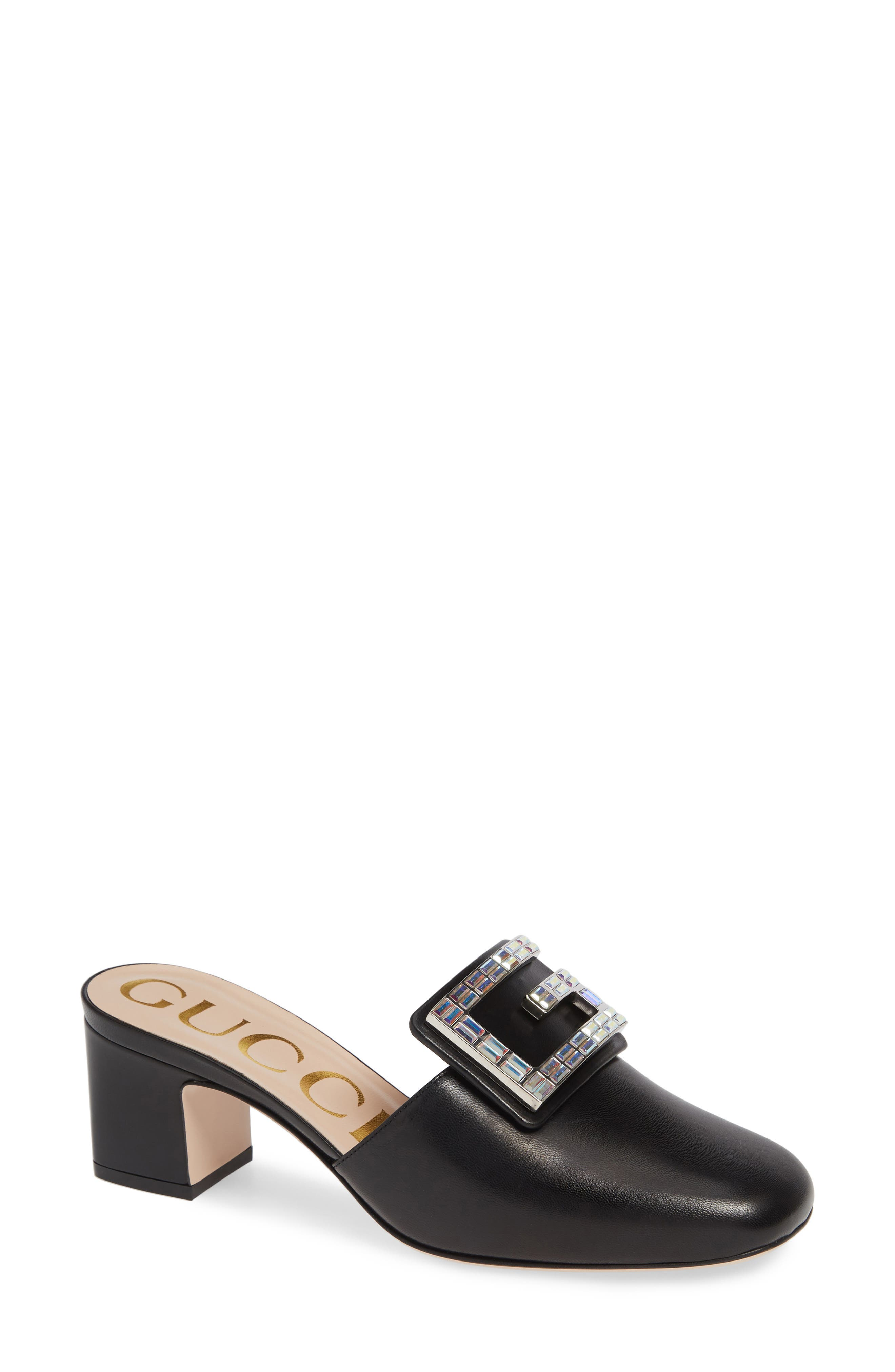 Madelyn Crystal G Mule,                             Main thumbnail 1, color,                             BLACK LEATHER