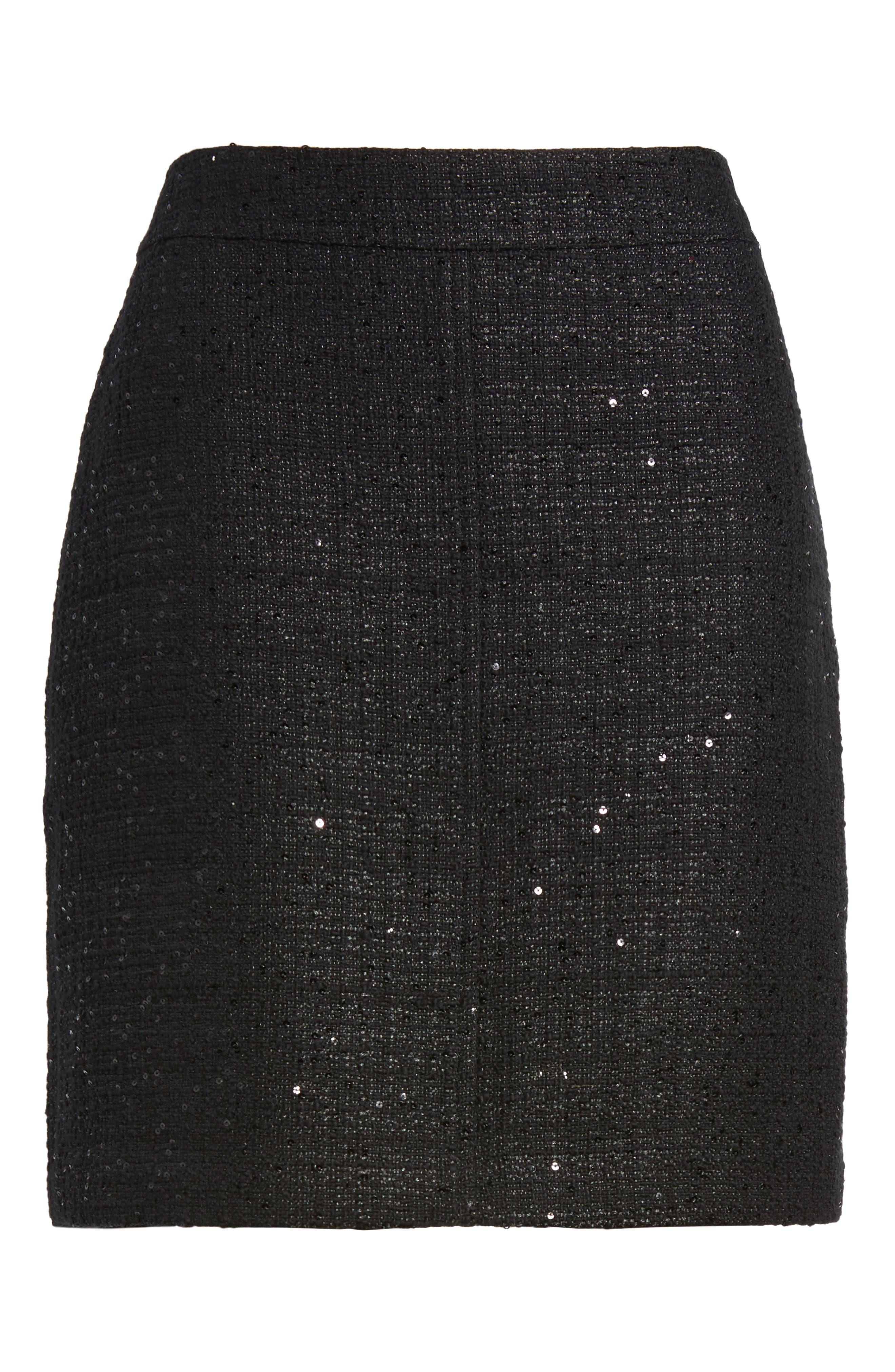 Sequin Tweed Skirt,                             Alternate thumbnail 6, color,                             001