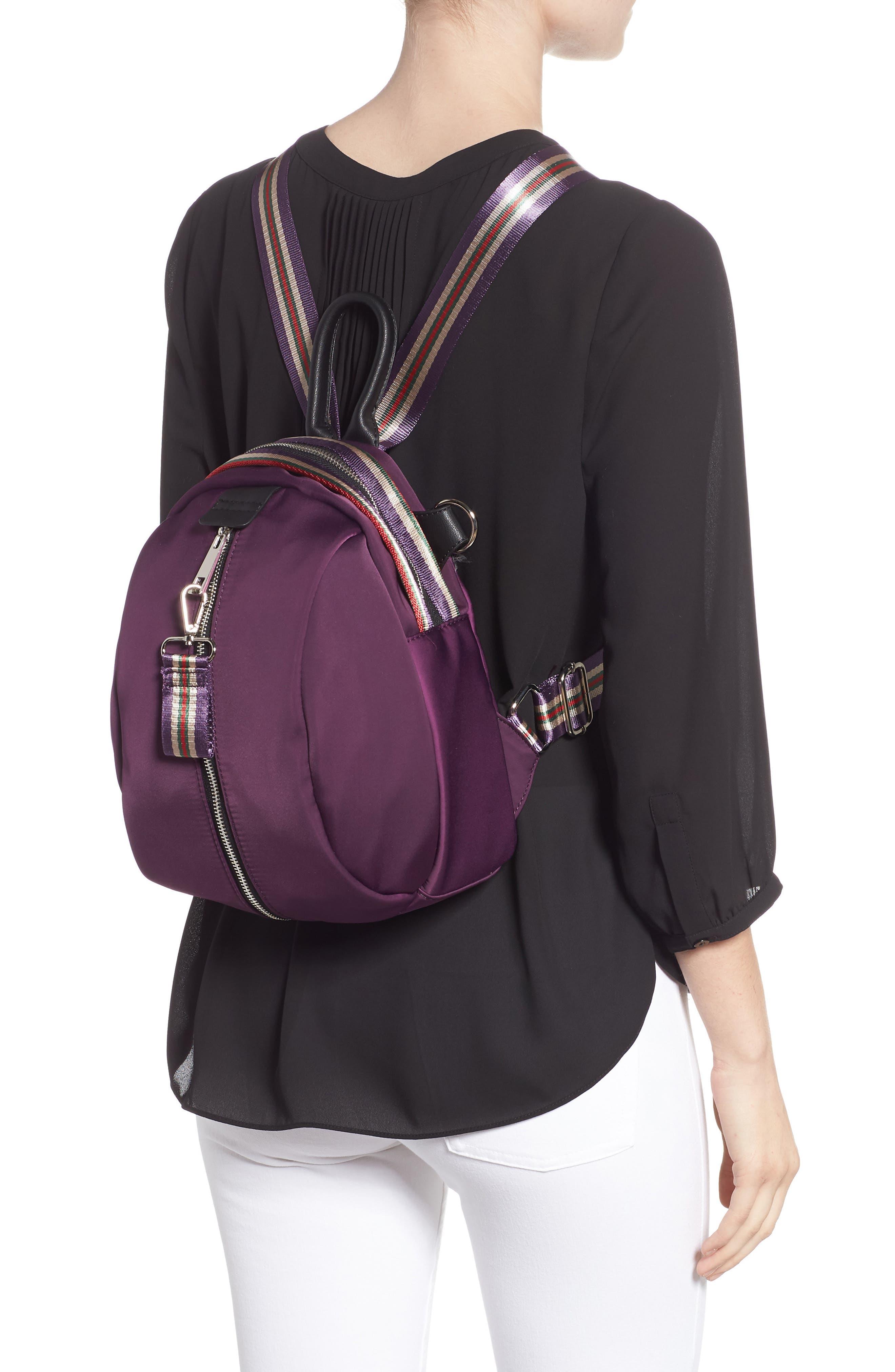 Satin Nylon & Webbing Convertible Backpack,                             Alternate thumbnail 2, color,                             PURPLE