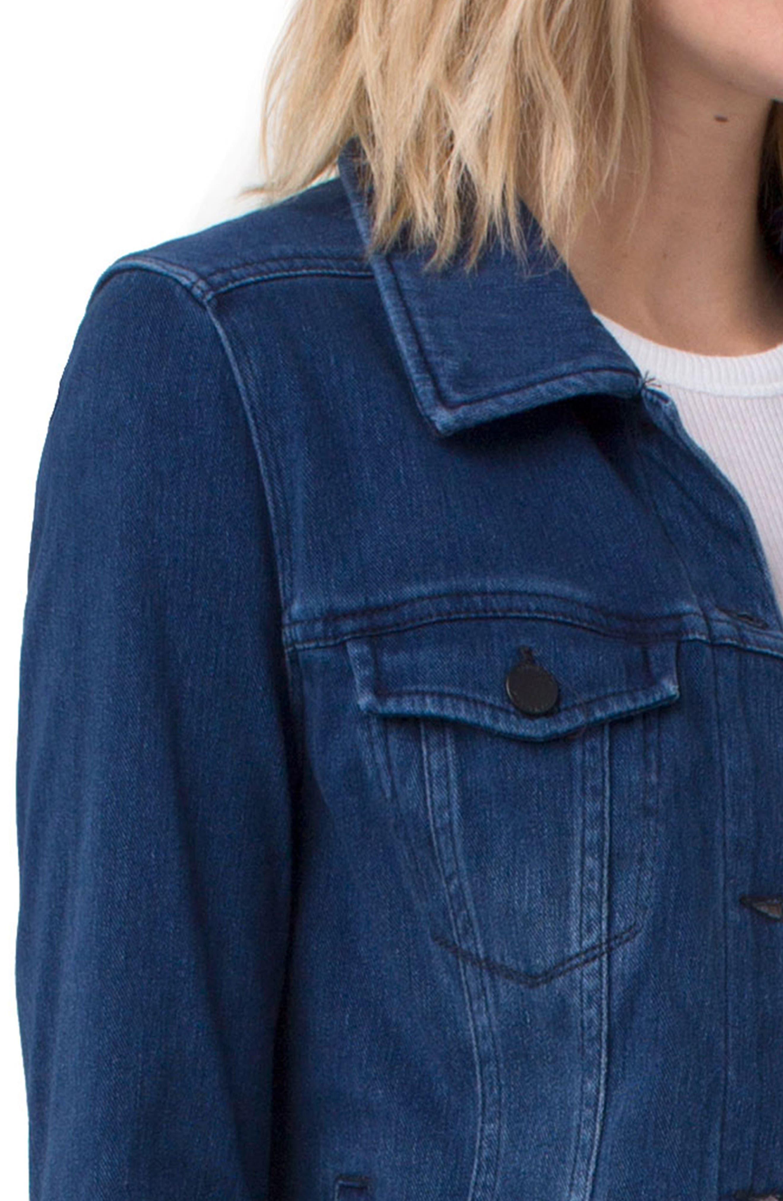 Knit Denim Jacket,                             Alternate thumbnail 4, color,                             DARK AMERICANA