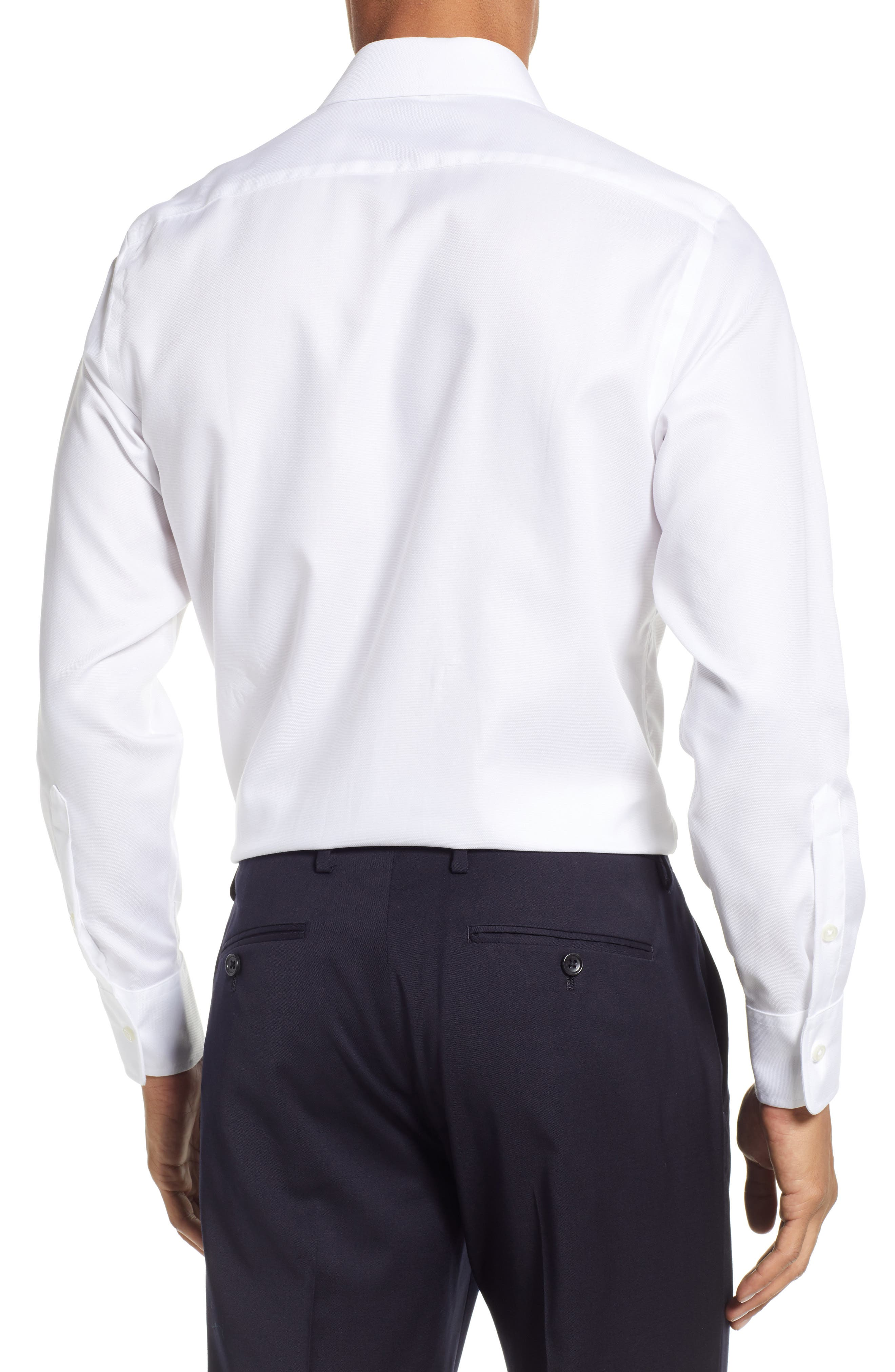 Classic Fit Solid Dress Shirt,                             Alternate thumbnail 3, color,                             WHITE