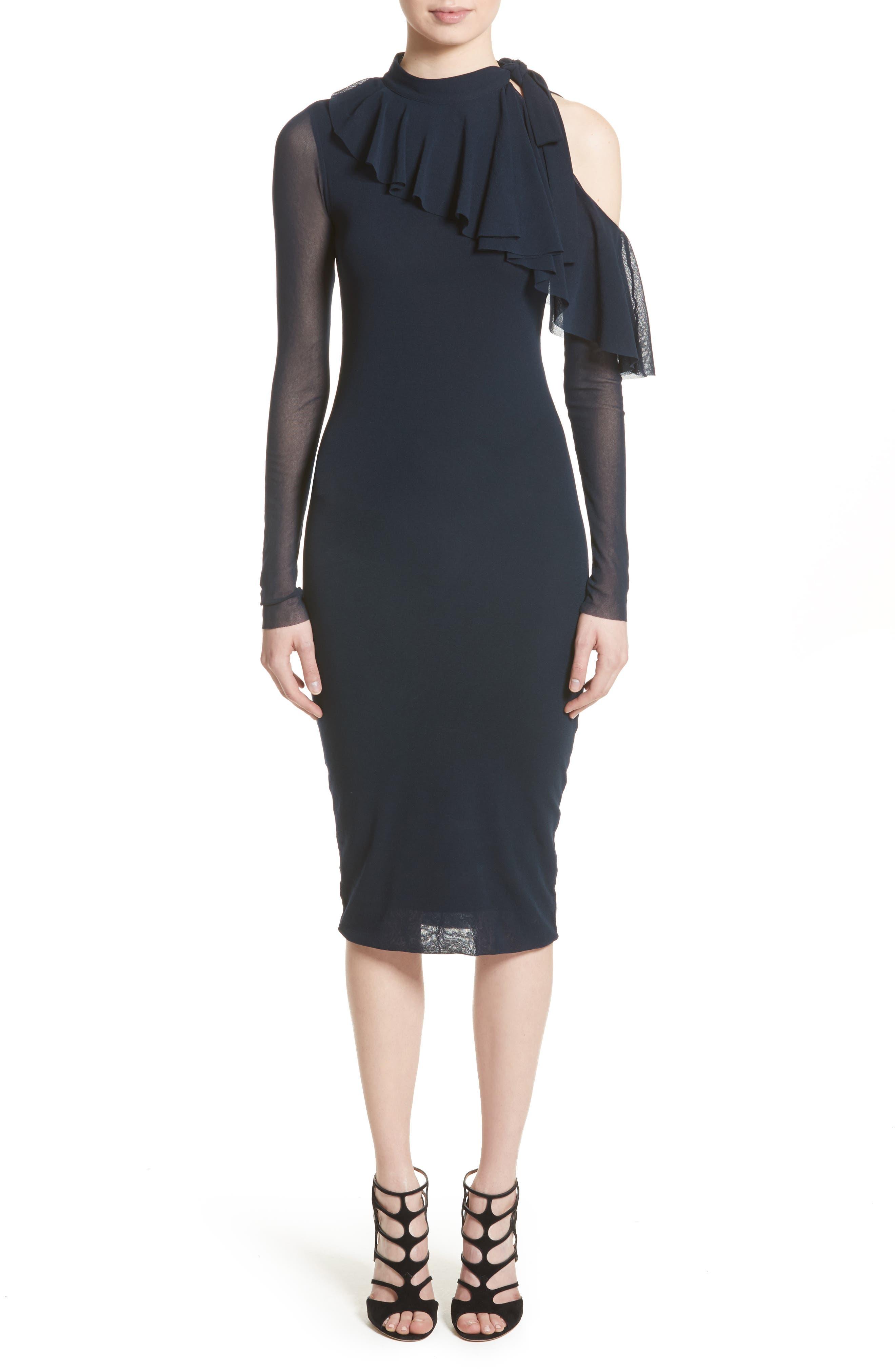 Tulle One-Shoulder Midi Dress,                             Main thumbnail 1, color,                             410