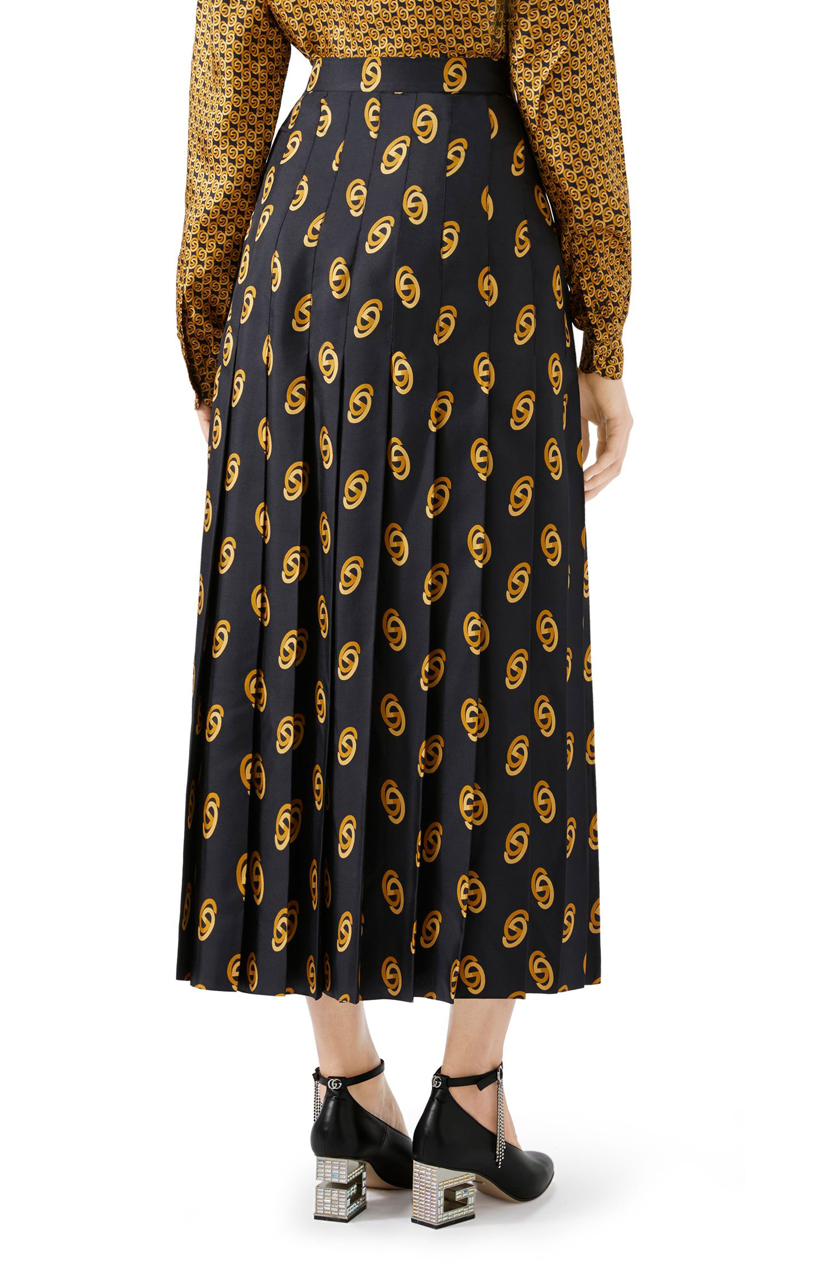 GUCCI,                             Pleated GG Silk Twill Skirt,                             Alternate thumbnail 2, color,                             1744 BLACK/ GOLD PRINTED