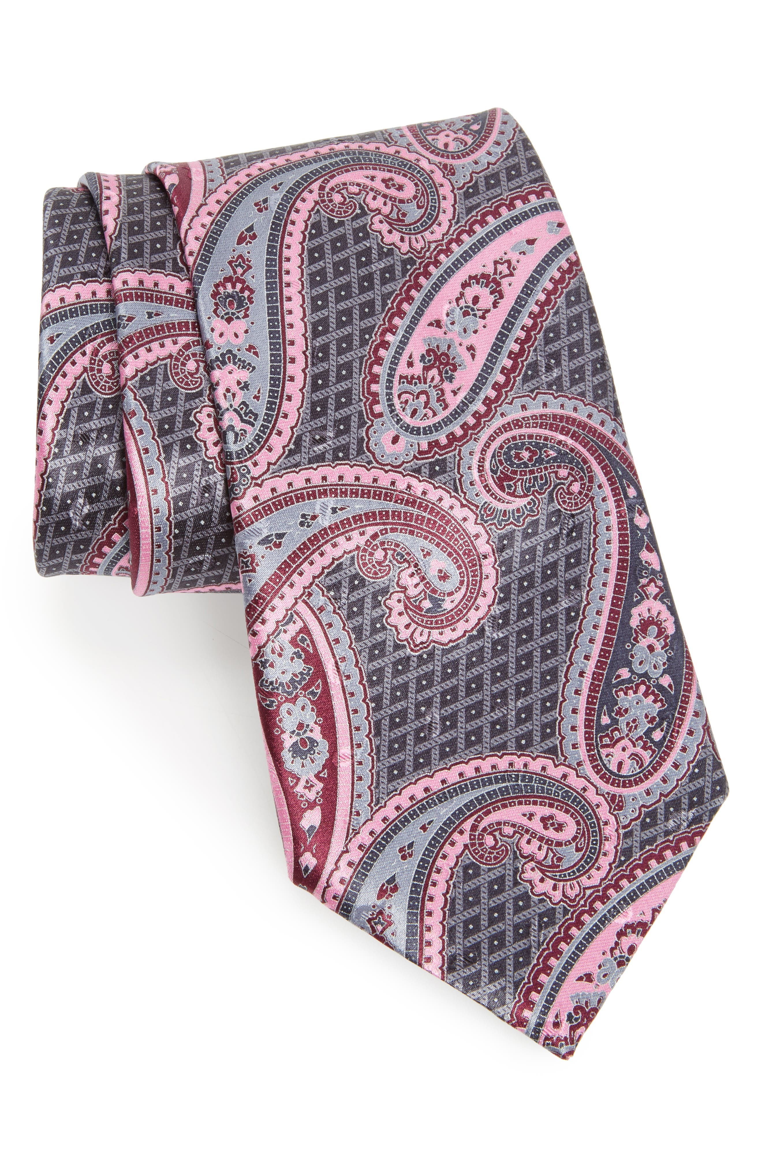 Paisley Silk Tie,                         Main,                         color, GREY