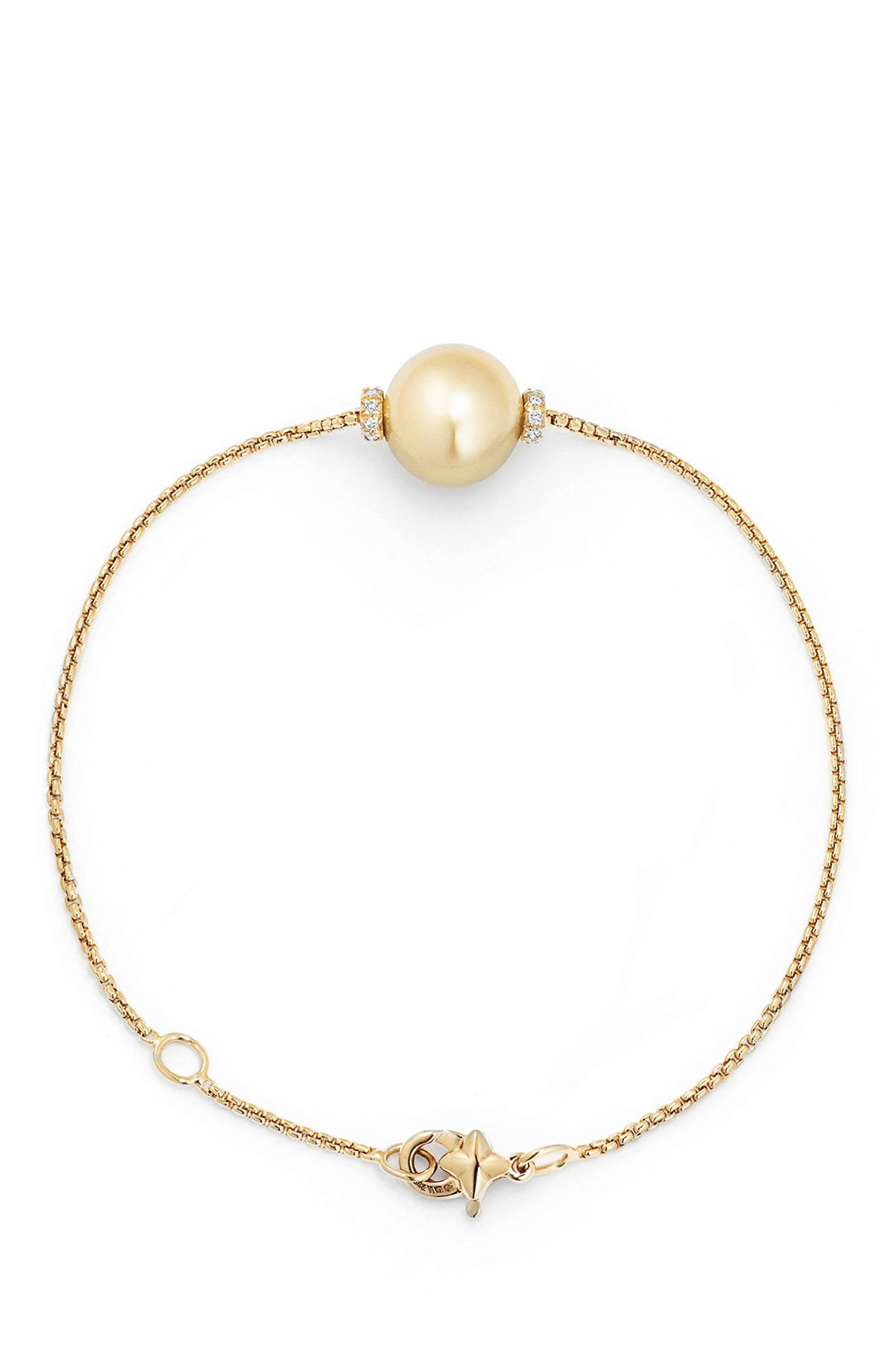 Solari Single Station Bracelet in 18k Gold with Diamonds & Pearl,                             Alternate thumbnail 3, color,                             YELLOW GOLD/ SOUTH SEA YELLOW