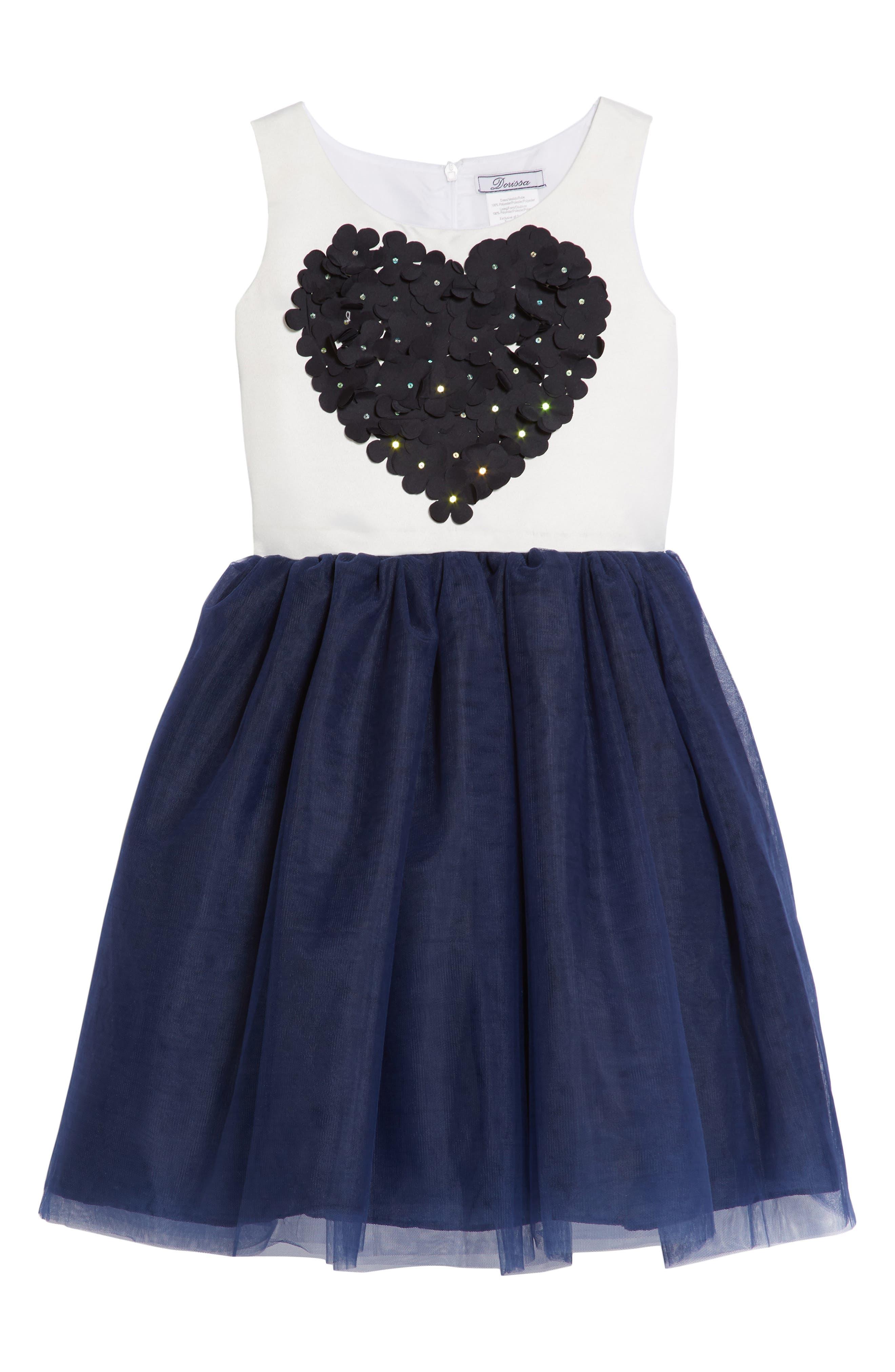 Amy Flower Embellished Tulle Dress,                         Main,                         color, 416