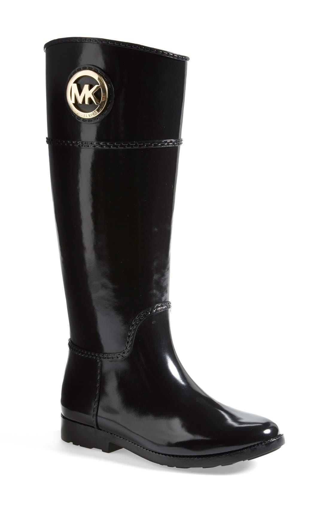MICHAEL MICHAEL KORS,                             'Stockard' Rain Boot,                             Main thumbnail 1, color,                             001
