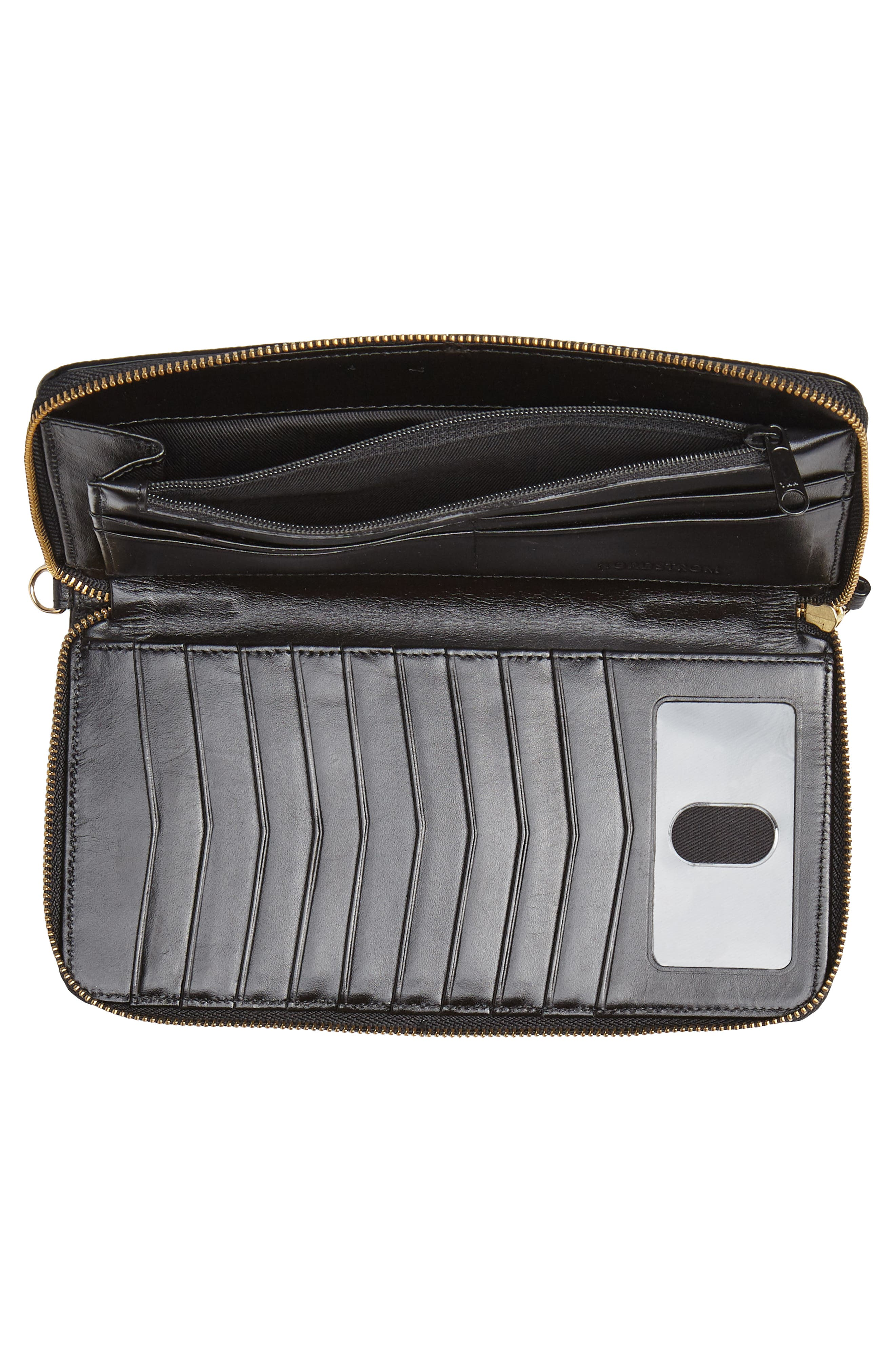 Zip Around Leather Continental Wallet,                             Alternate thumbnail 4, color,                             BLACK