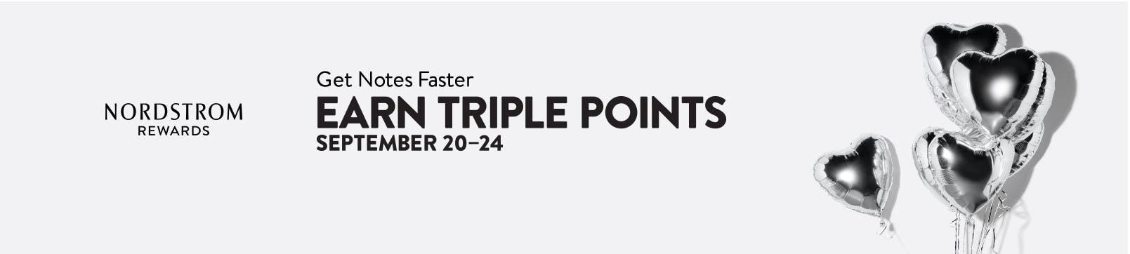 Nordstrom Rewards. Get Notes even faster: earn triple points September 20–24.