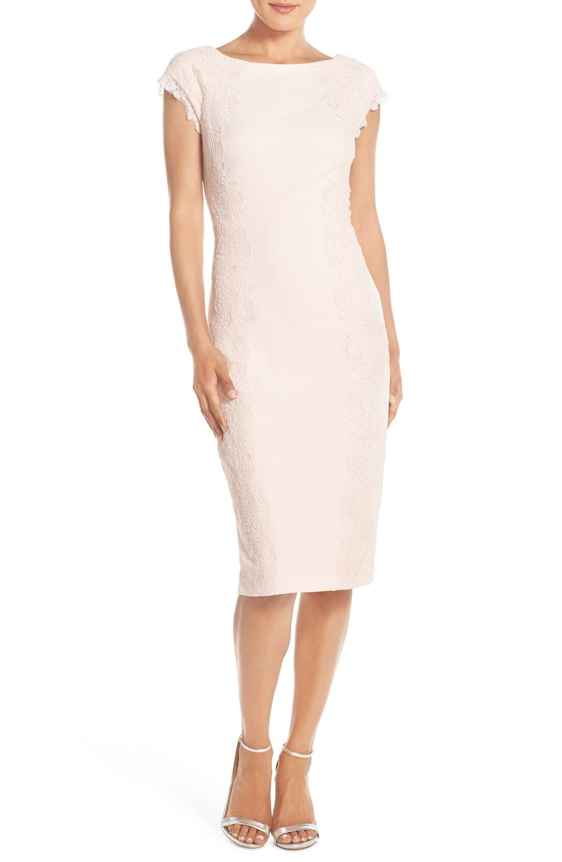 Lace Detail Crepe Sheath Dress,                             Main thumbnail 1, color,                             BLUSH