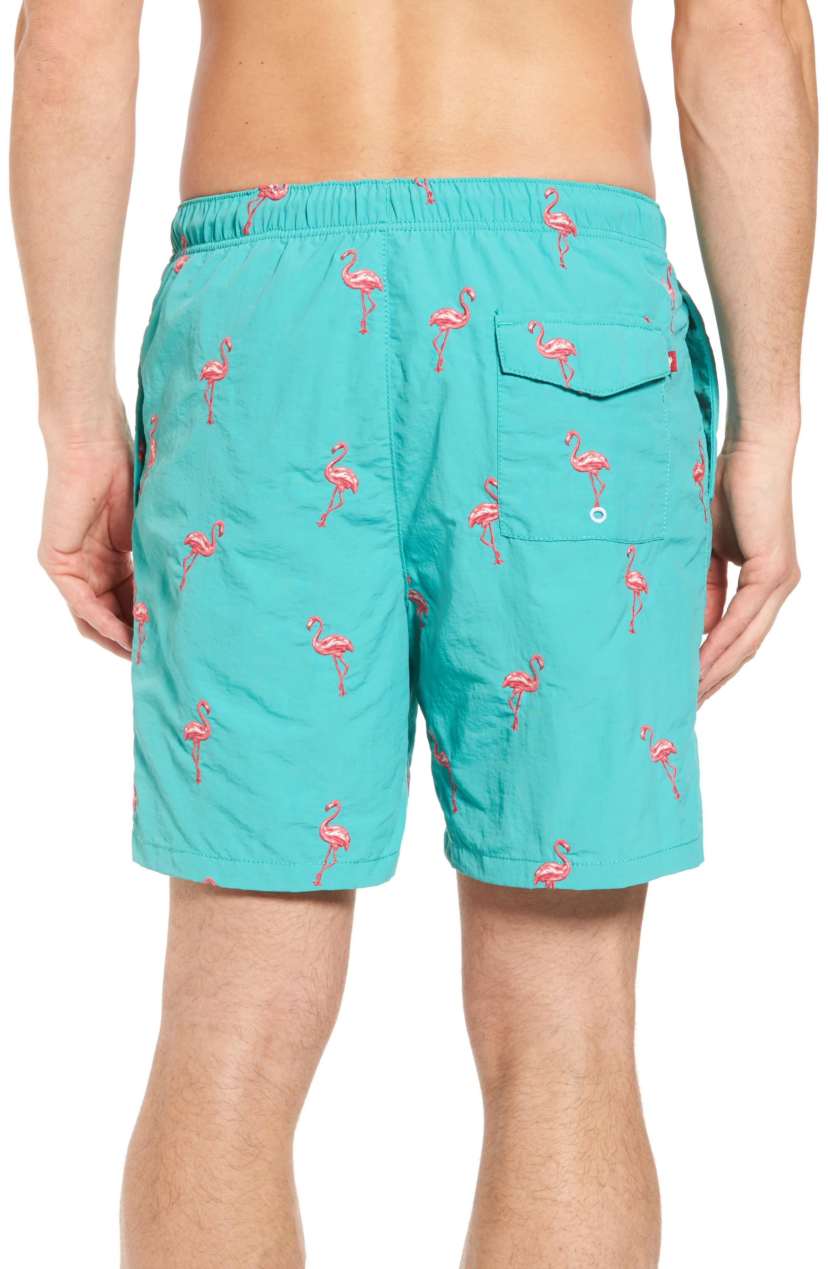 Naples Flamingo Coast Swim Trunks,                             Alternate thumbnail 2, color,                             CASTAWAY GREEN