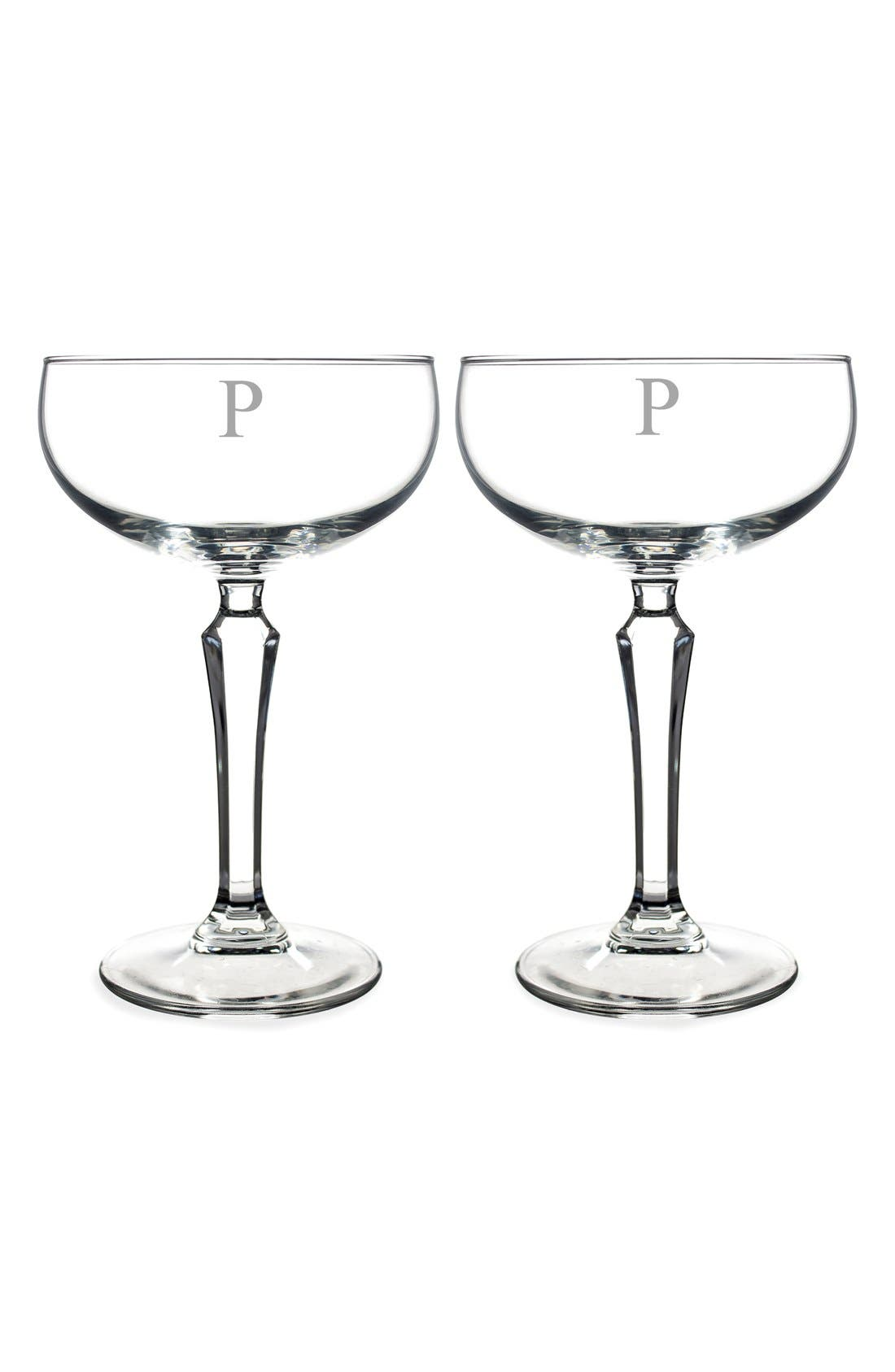Monogram Coupe Cocktail/Champagne Glasses,                             Main thumbnail 18, color,