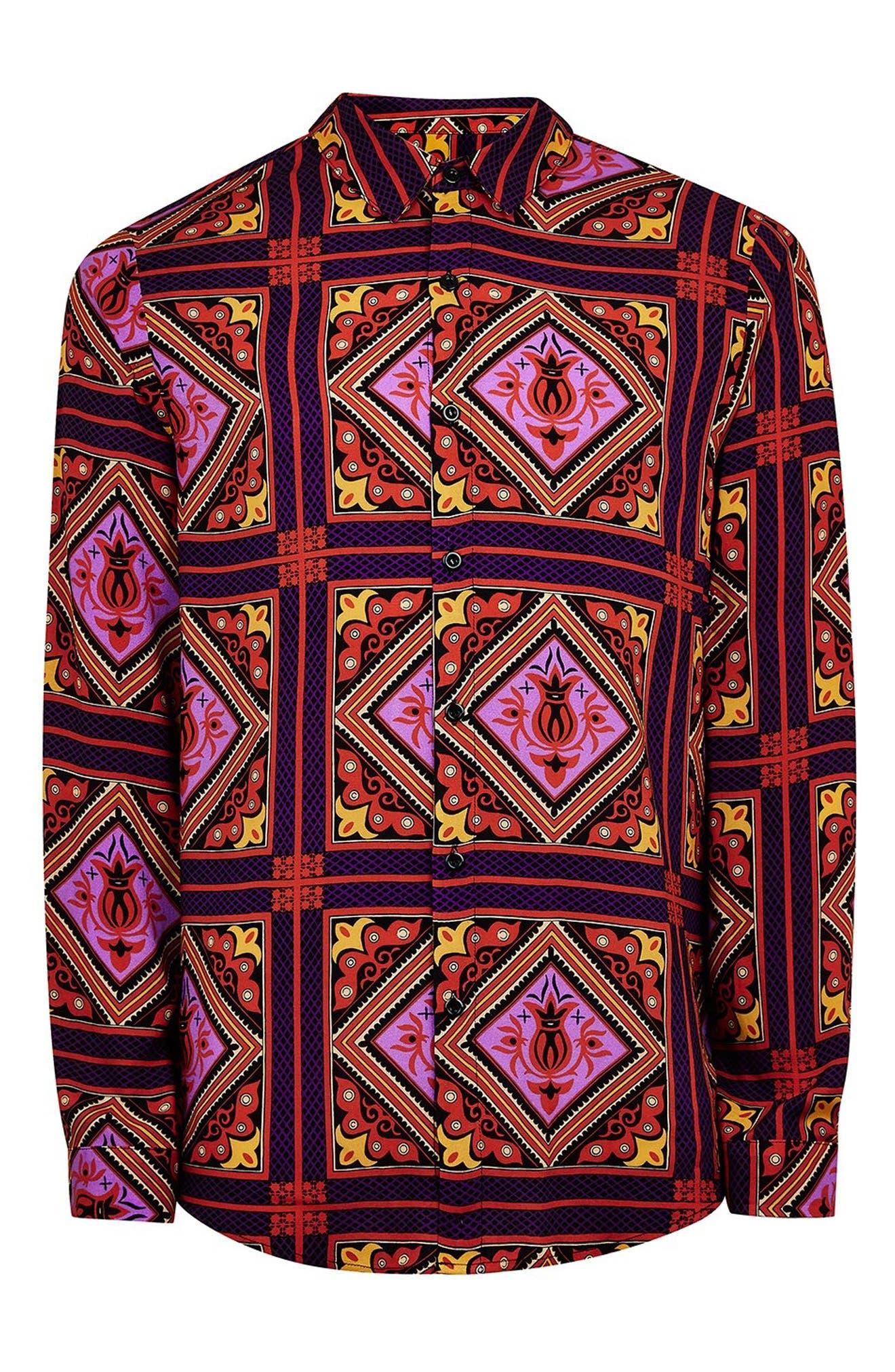 Tile Classic Fit Shirt,                             Alternate thumbnail 4, color,                             PURPLE MULTI
