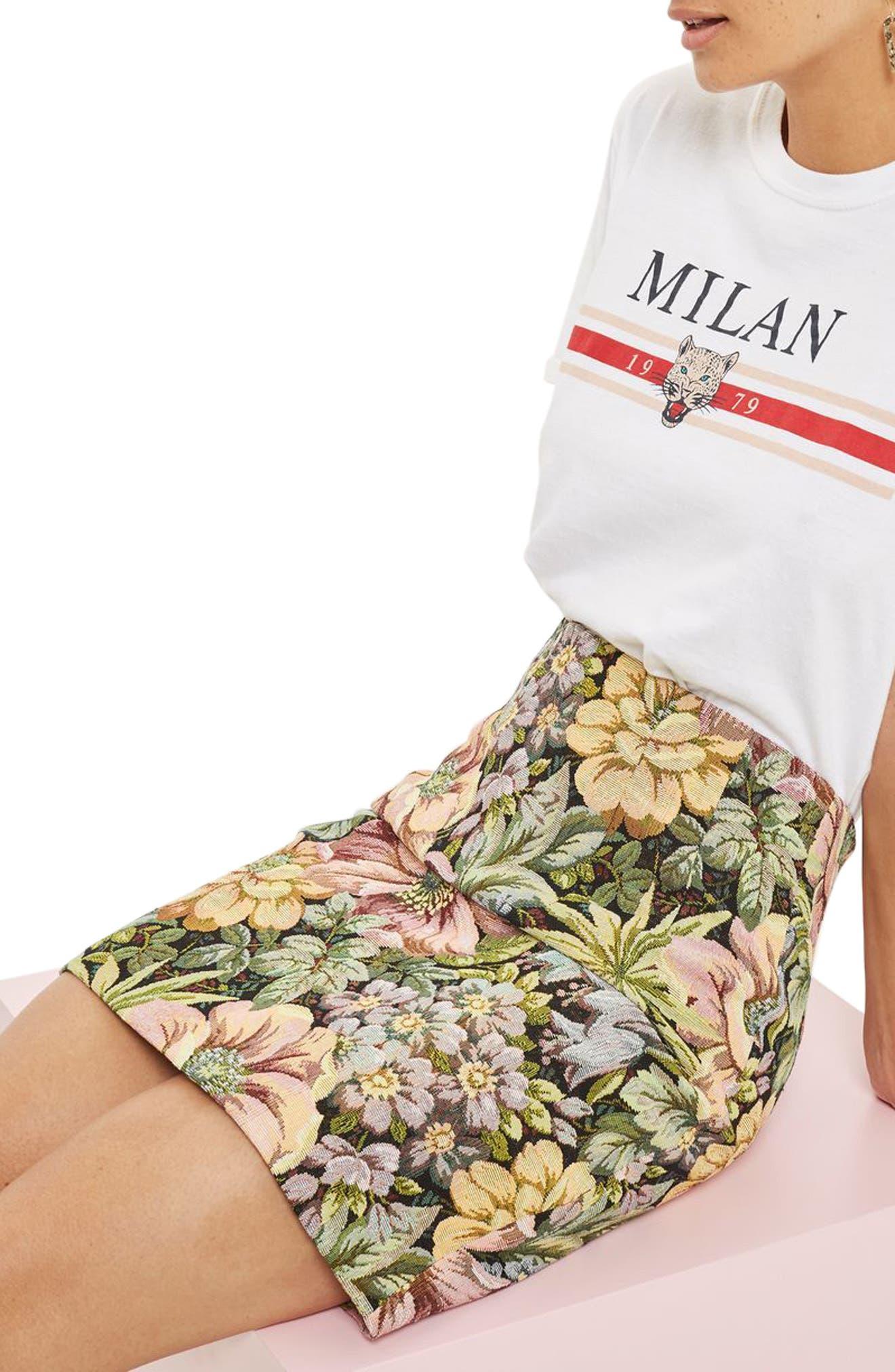 High Waist Tapestry Miniskirt,                             Alternate thumbnail 3, color,                             310