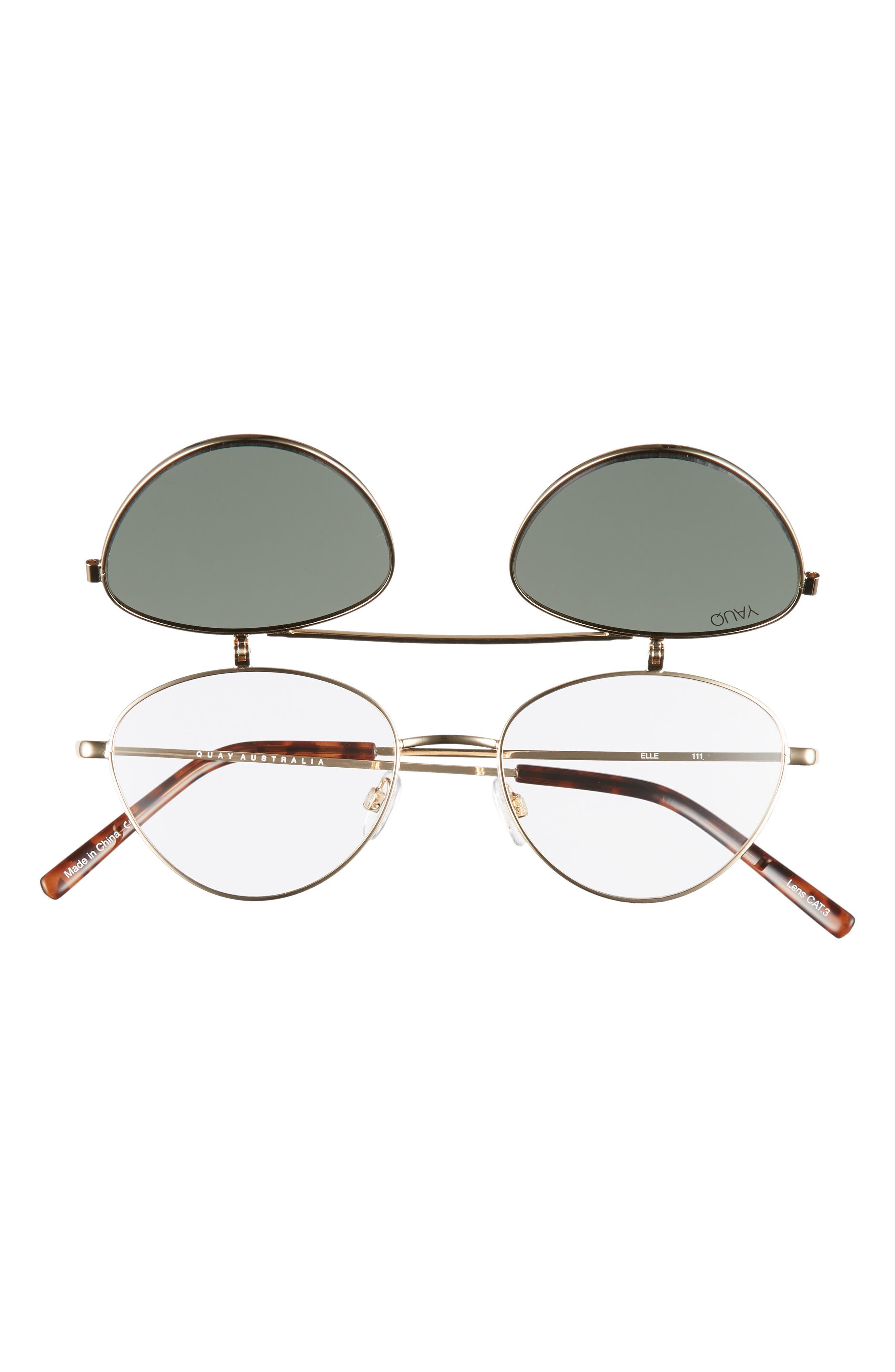 x Elle Ferguson Elle 59mm Round Sunglasses,                             Alternate thumbnail 4, color,                             GOLD/ GREEN