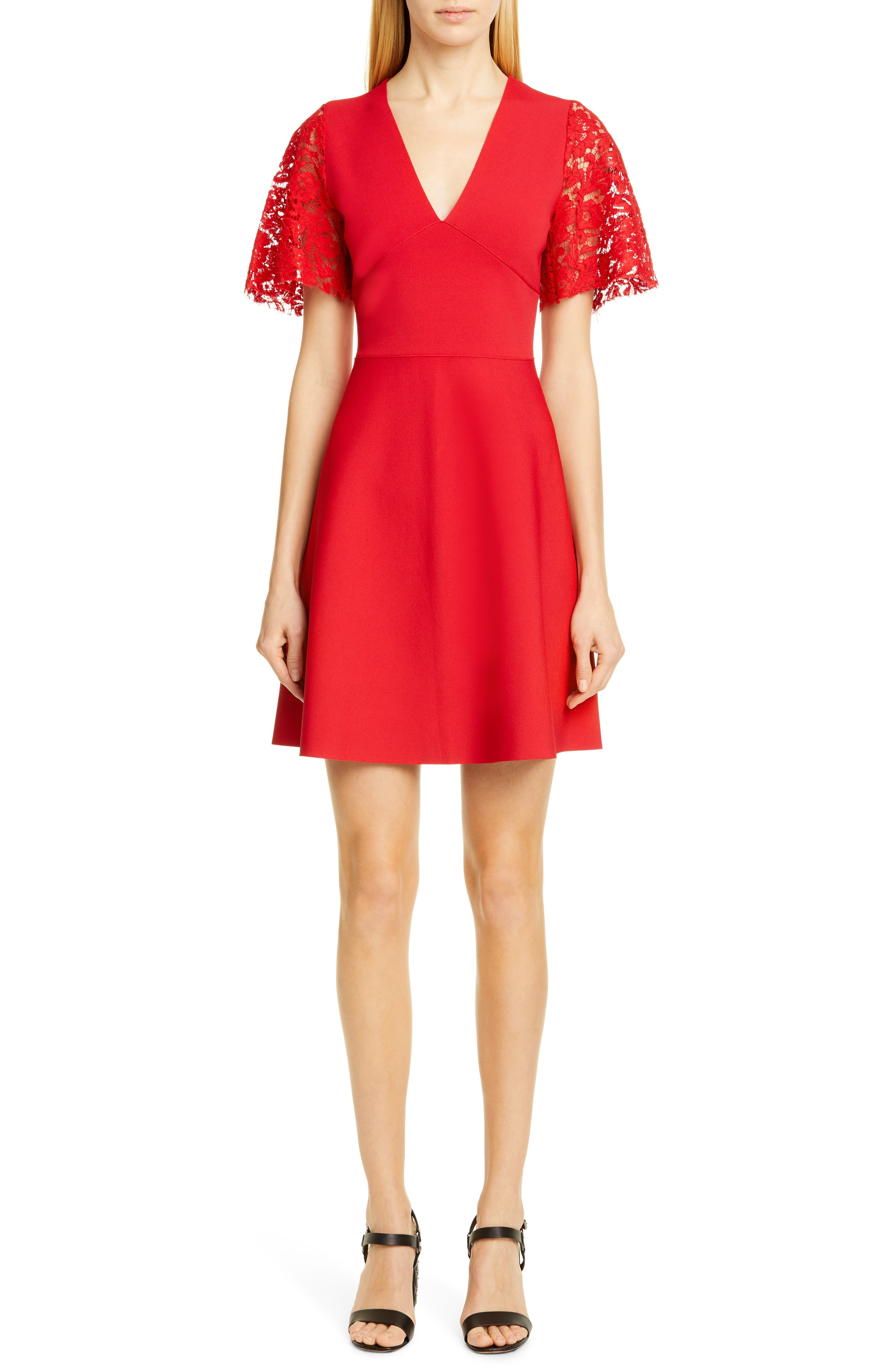 Valentino Lace Flutter Sleeve Sweater Dress, Red