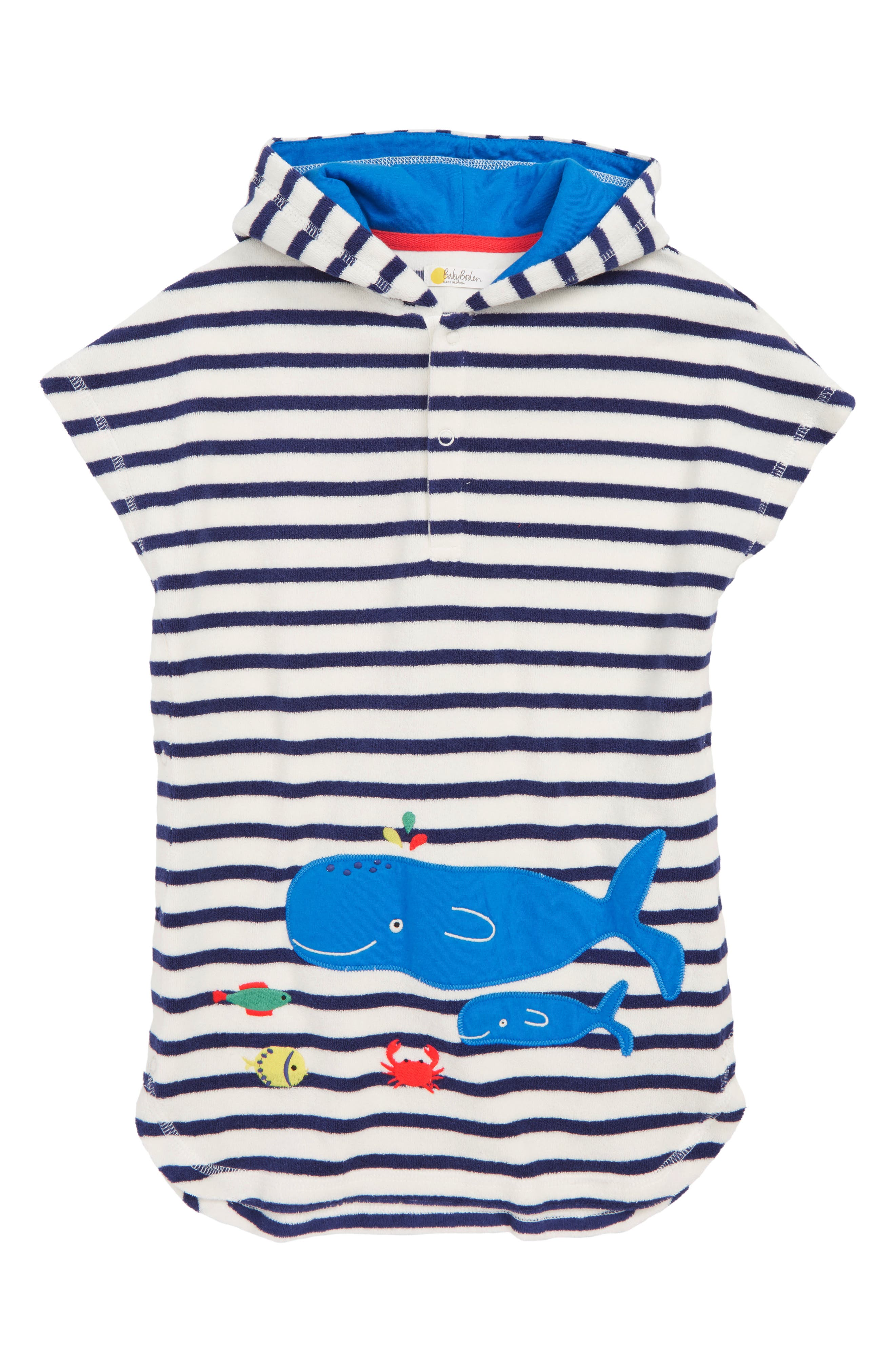 Toddler Boys Mini Boden Whale Applique Hooded CoverUp