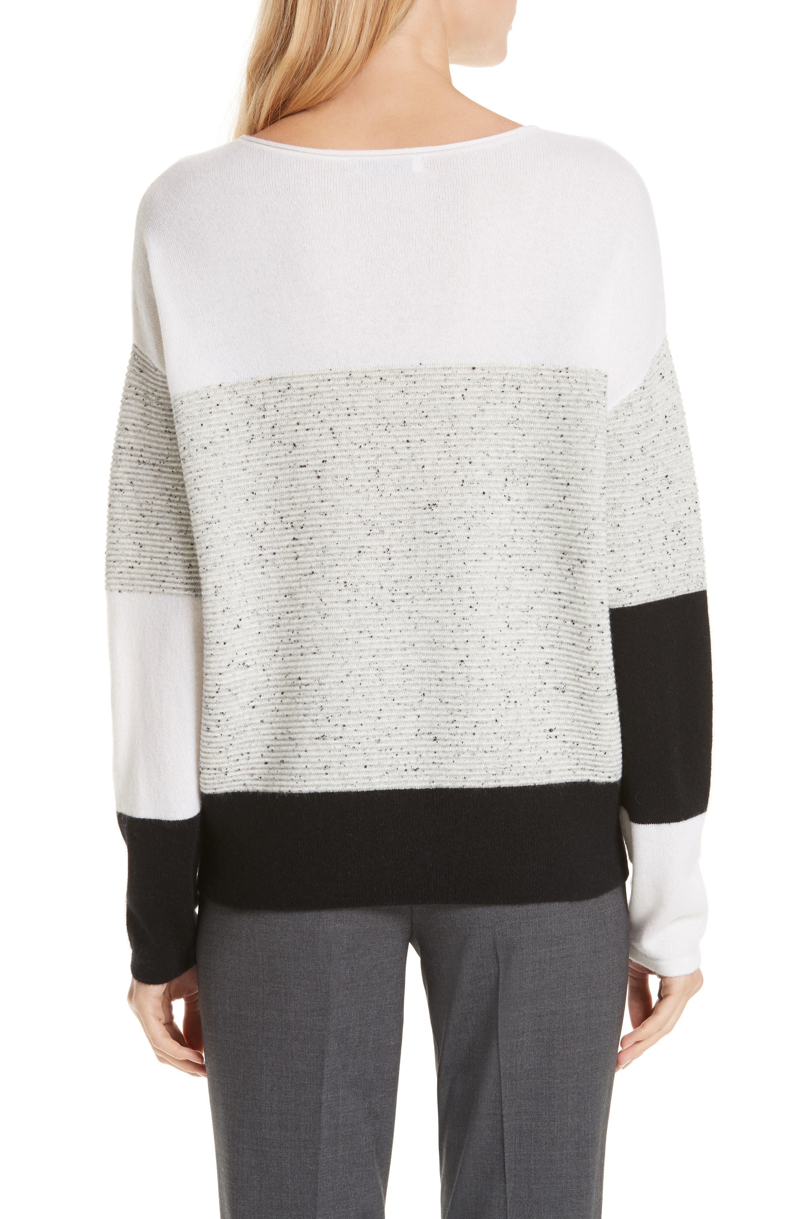 Colorblock Cashmere Sweater,                             Alternate thumbnail 2, color,                             IVORY SOFT MULTI COLOR BLOCK