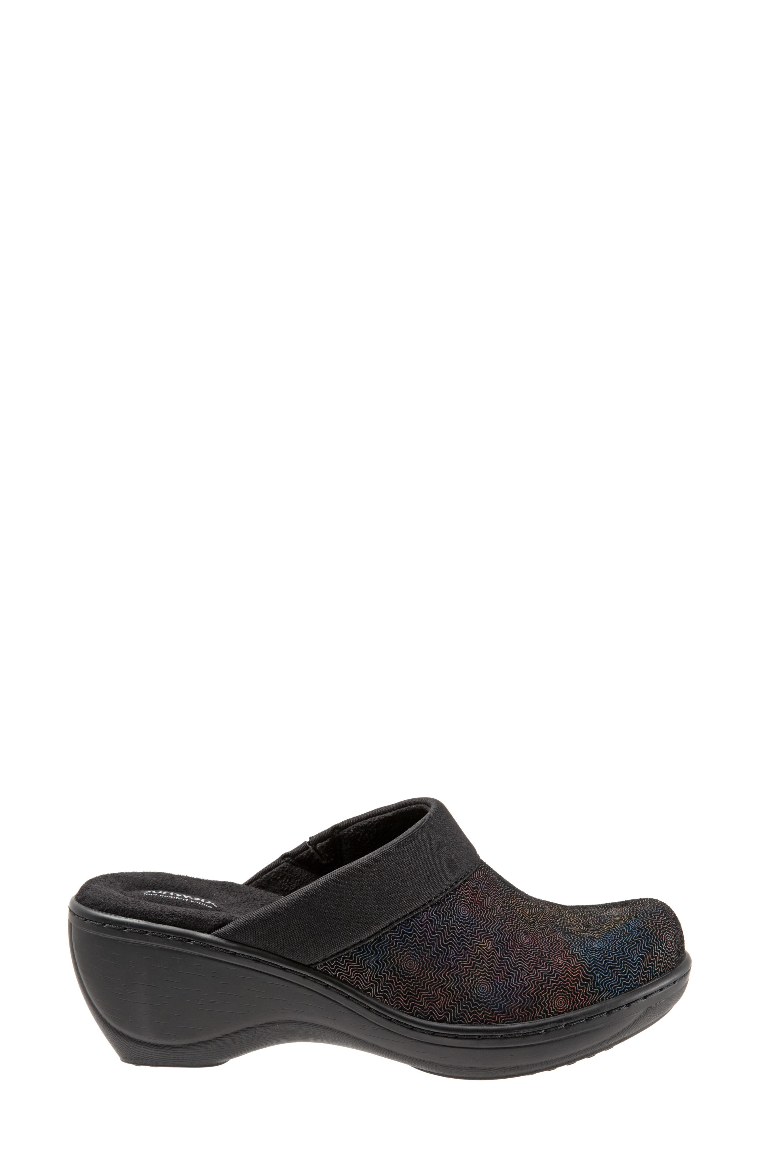 SOFTWALK<SUP>®</SUP>,                             'Murietta' Clog,                             Alternate thumbnail 3, color,                             BLACK MULTI LEATHER