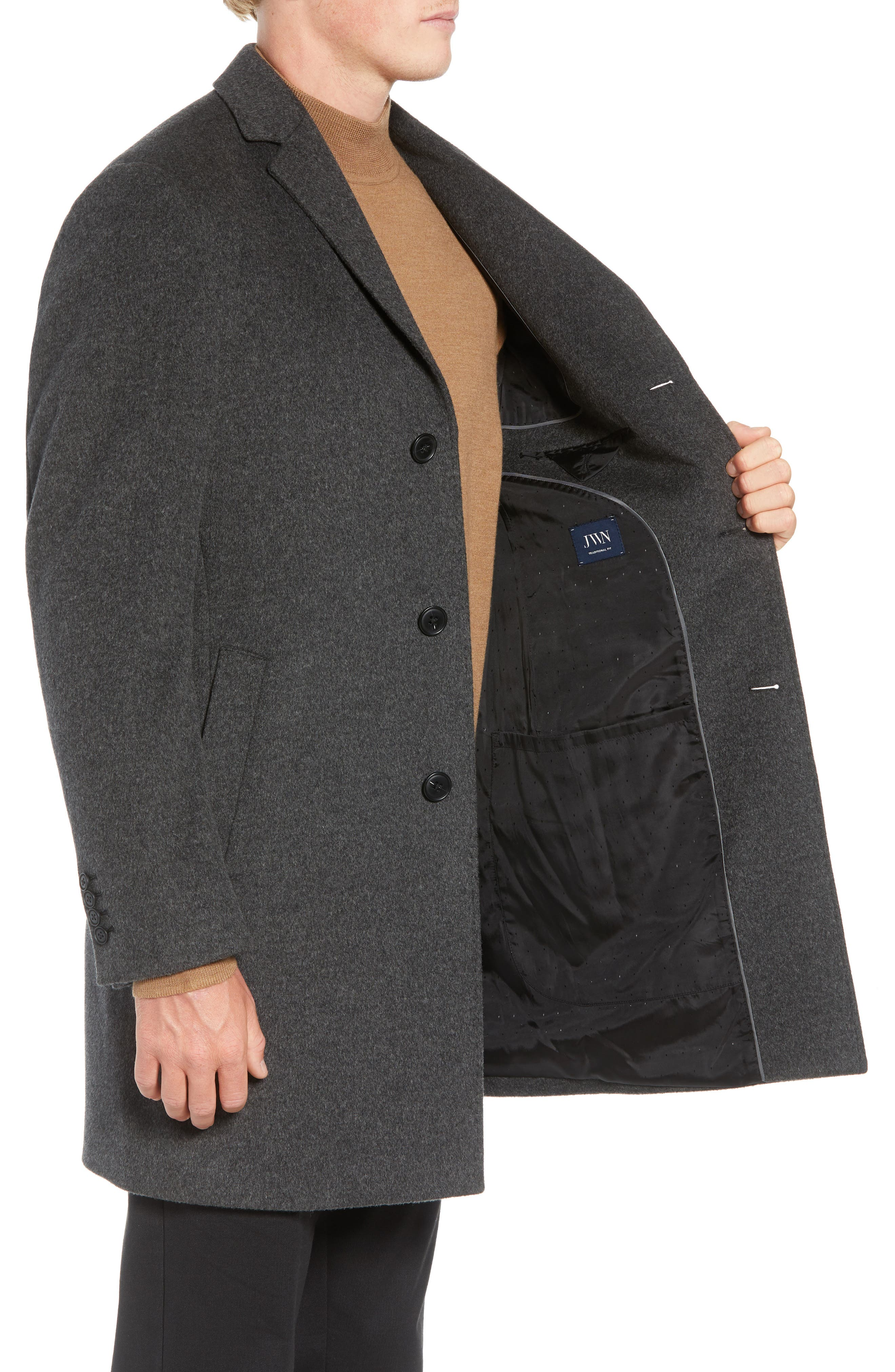 Mason Wool & Cashmere Overcoat,                             Alternate thumbnail 3, color,                             CHARCOAL