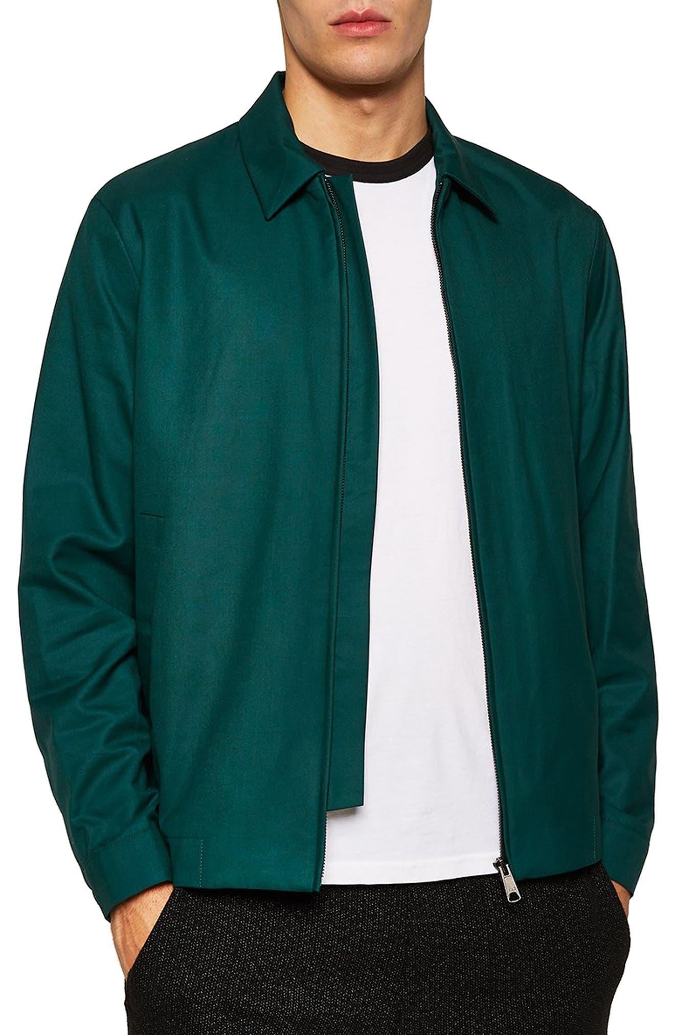 TOPMAN Harrington Classic Fit Jacket in Green