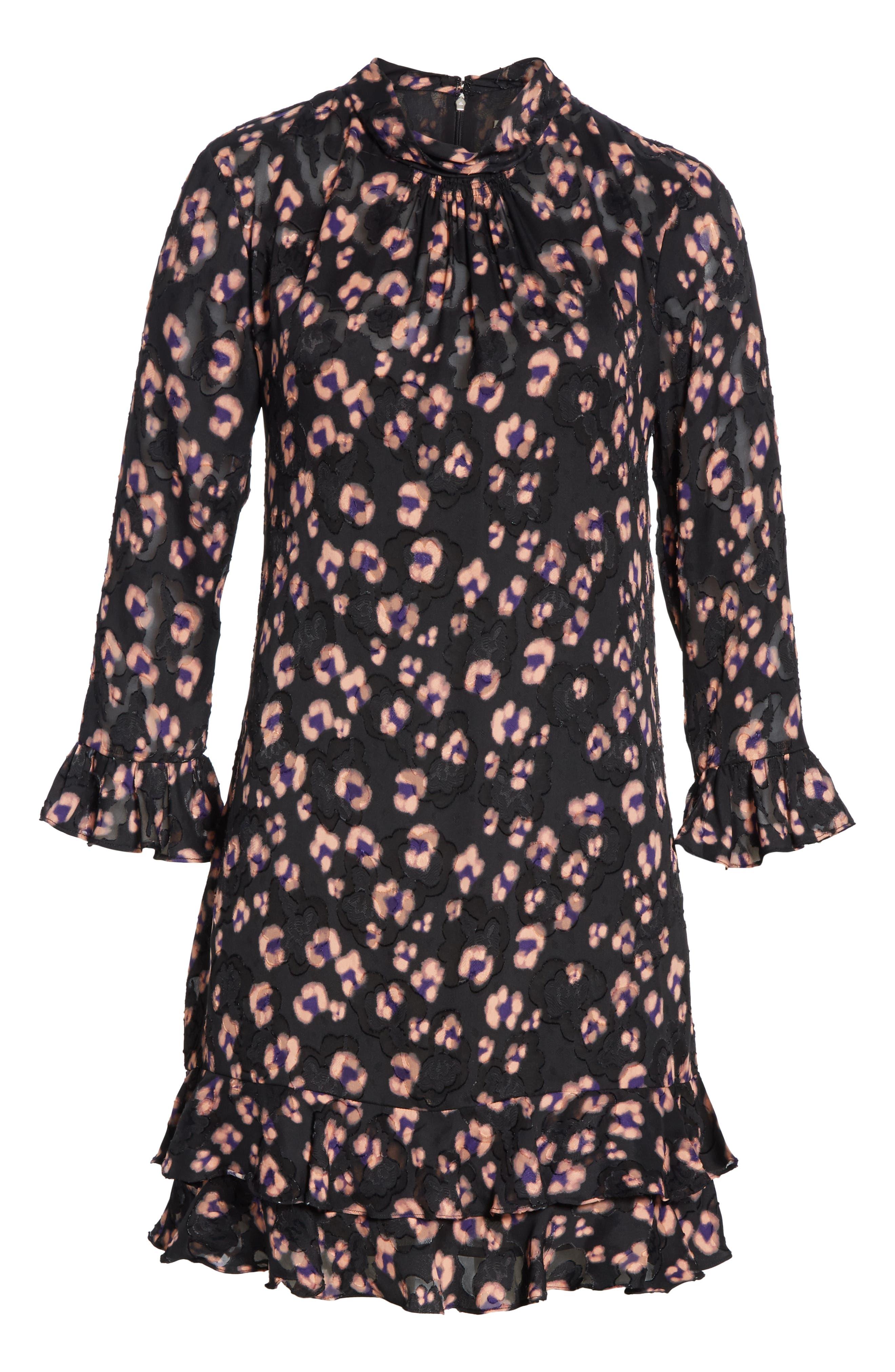 Cheetah Print Silk Dress,                             Alternate thumbnail 6, color,                             COPPER COMBO