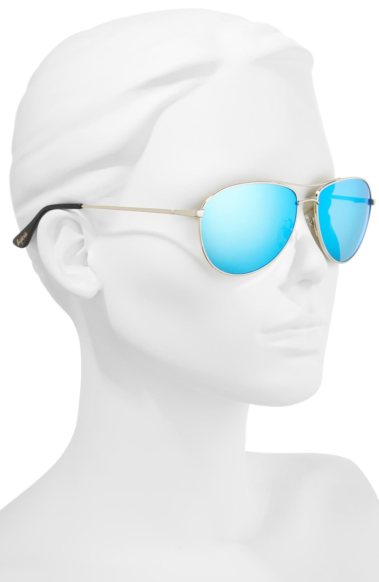 Orville 58mm Mirrored Aviator Sunglasses,                             Alternate thumbnail 2, color,                             Silver/ Blue Mirror