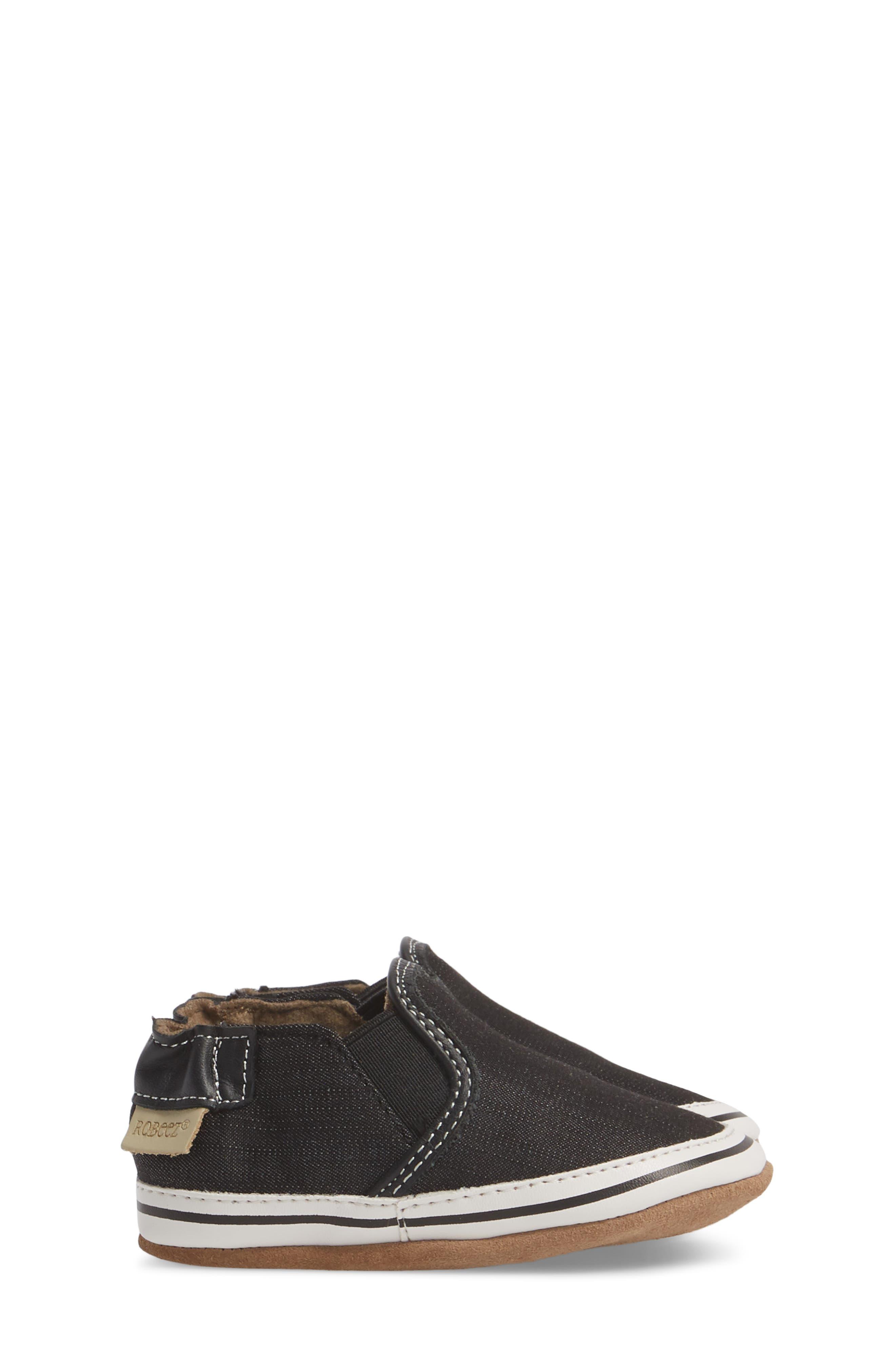 Liam Slip-On Crib Sneaker,                             Alternate thumbnail 3, color,                             BLACK