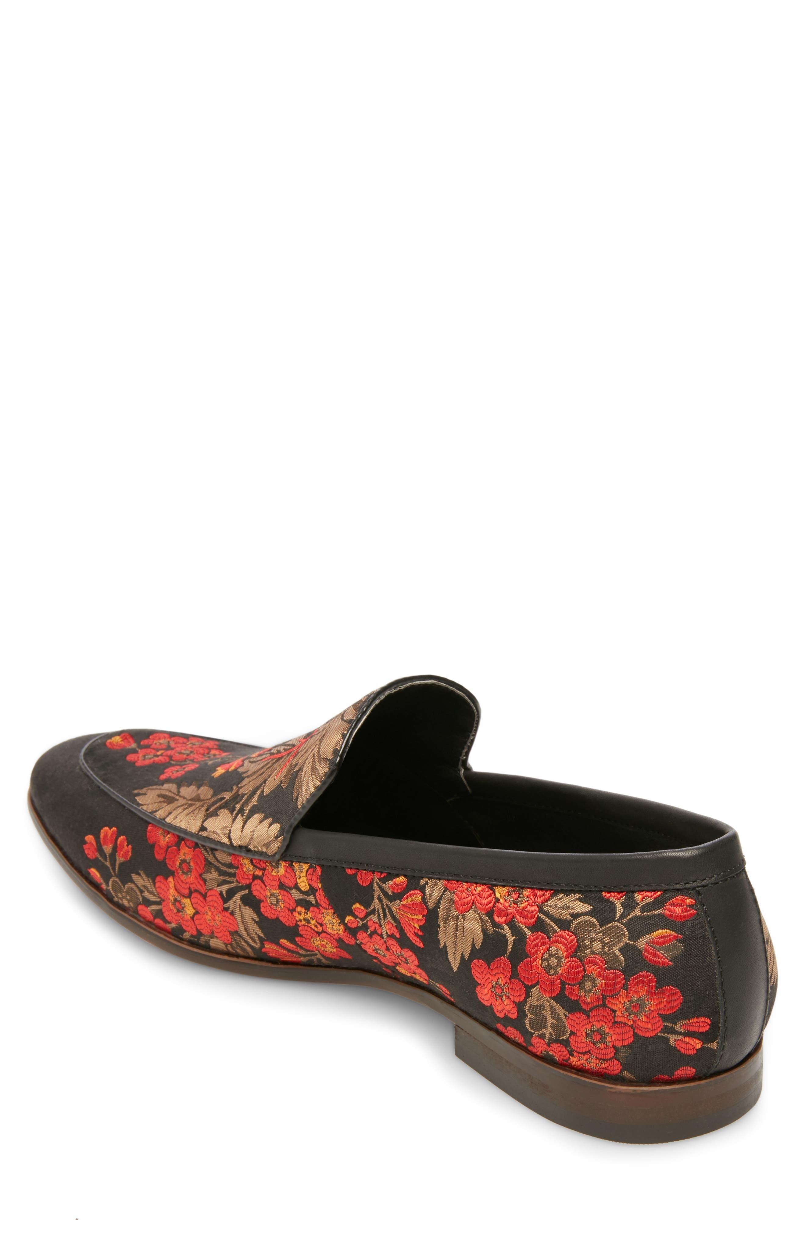 Duplex Apron Toe Venetian Loafer,                             Alternate thumbnail 2, color,                             BLACK/ RED