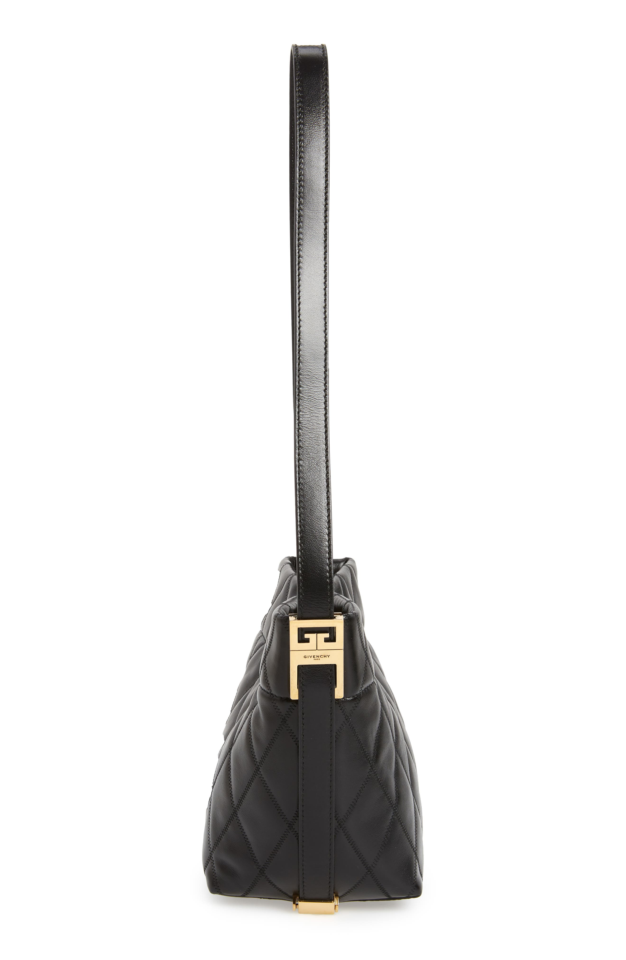 GIVENCHY,                             Mini GV Quilted Lambskin Leather Bucket Bag,                             Alternate thumbnail 6, color,                             BLACK