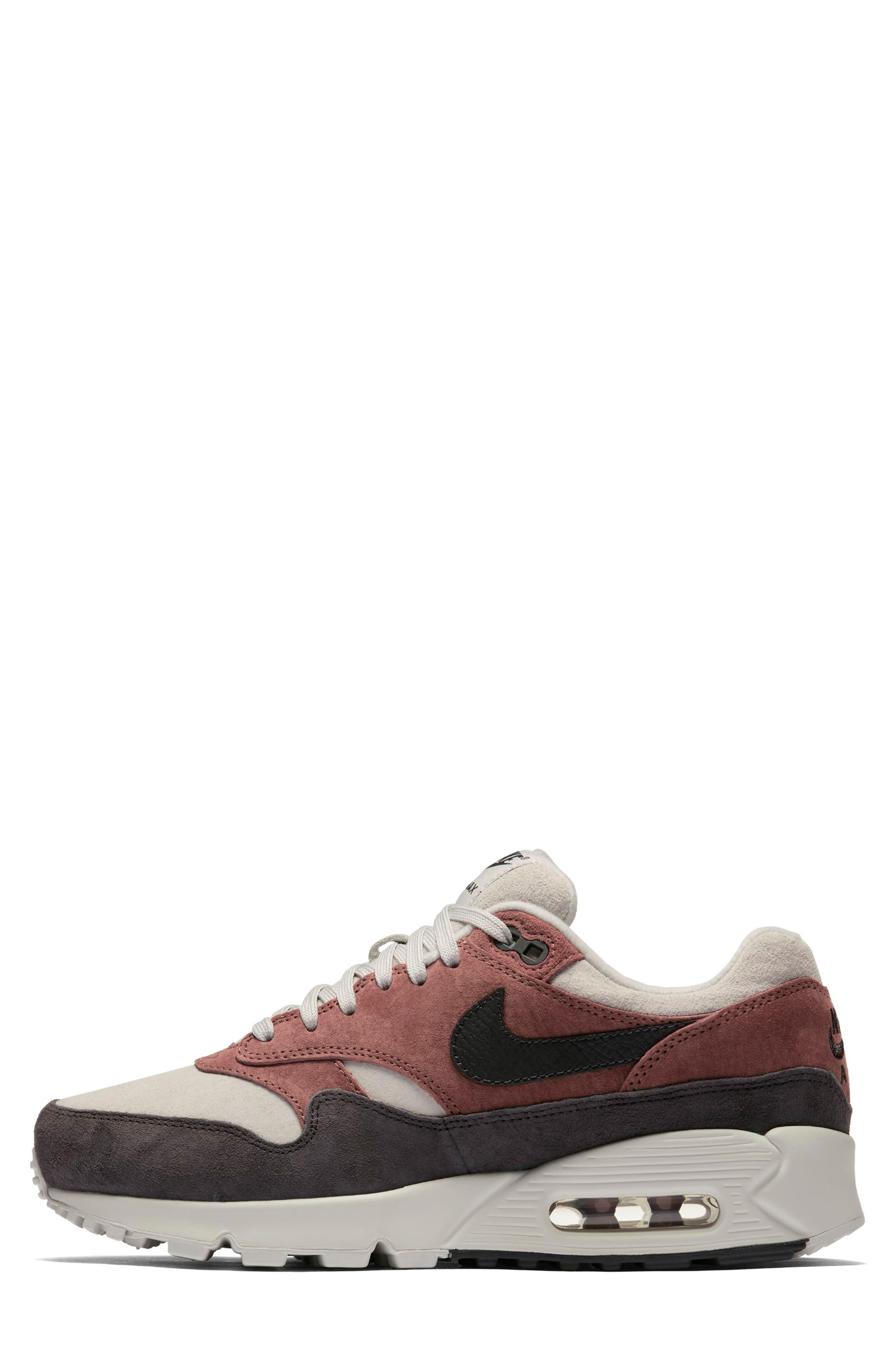 Air Max 90/1 Sneaker,                             Alternate thumbnail 3, color,                             RED SEPIA/ OIL GREY-VAST GREY