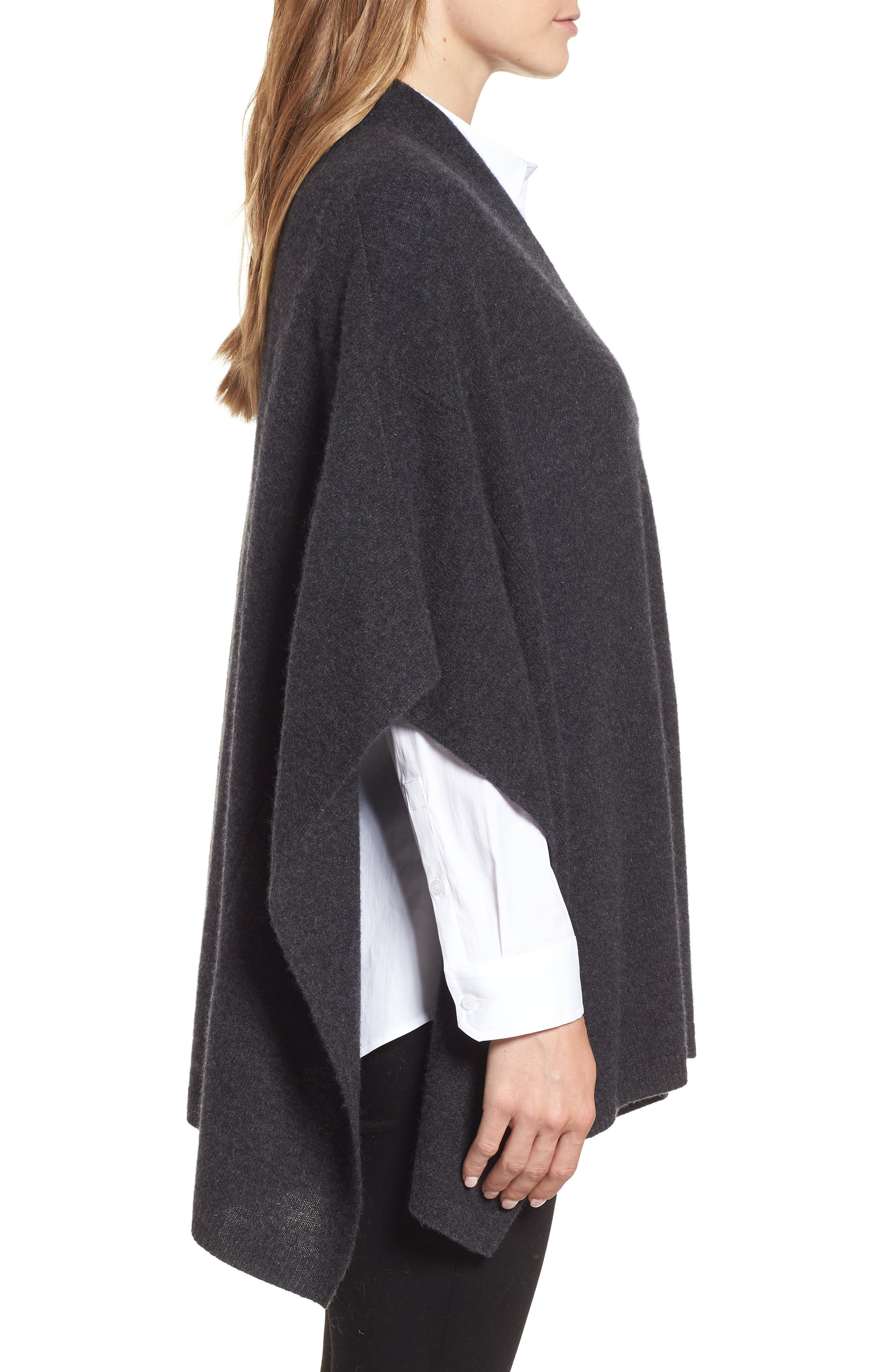 Halogen Cashmere Poncho,                             Alternate thumbnail 3, color,                             GREY CHARCOAL HEATHER