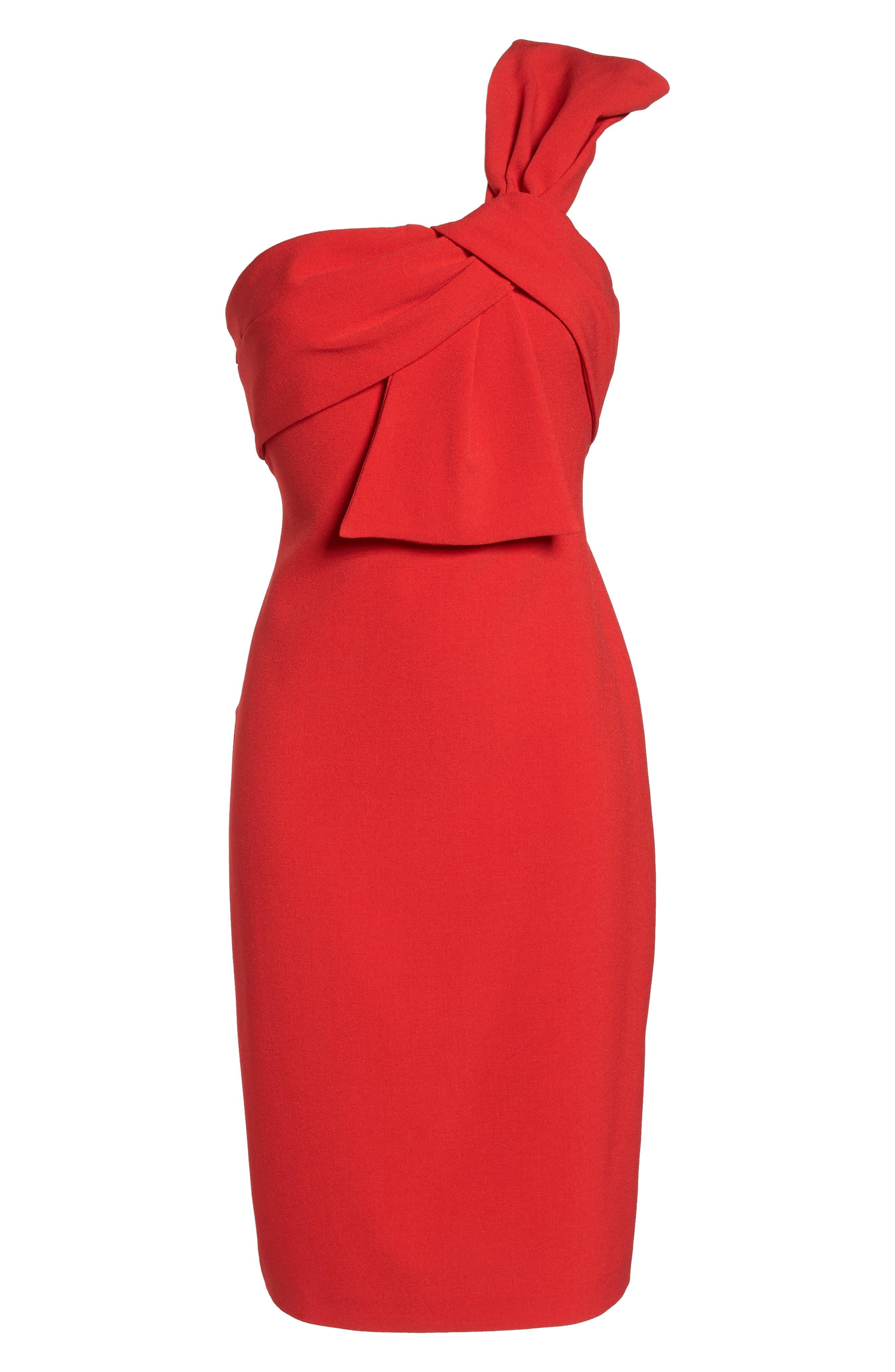One-Shoulder Twist Front Sheath Dress,                             Alternate thumbnail 7, color,                             RED