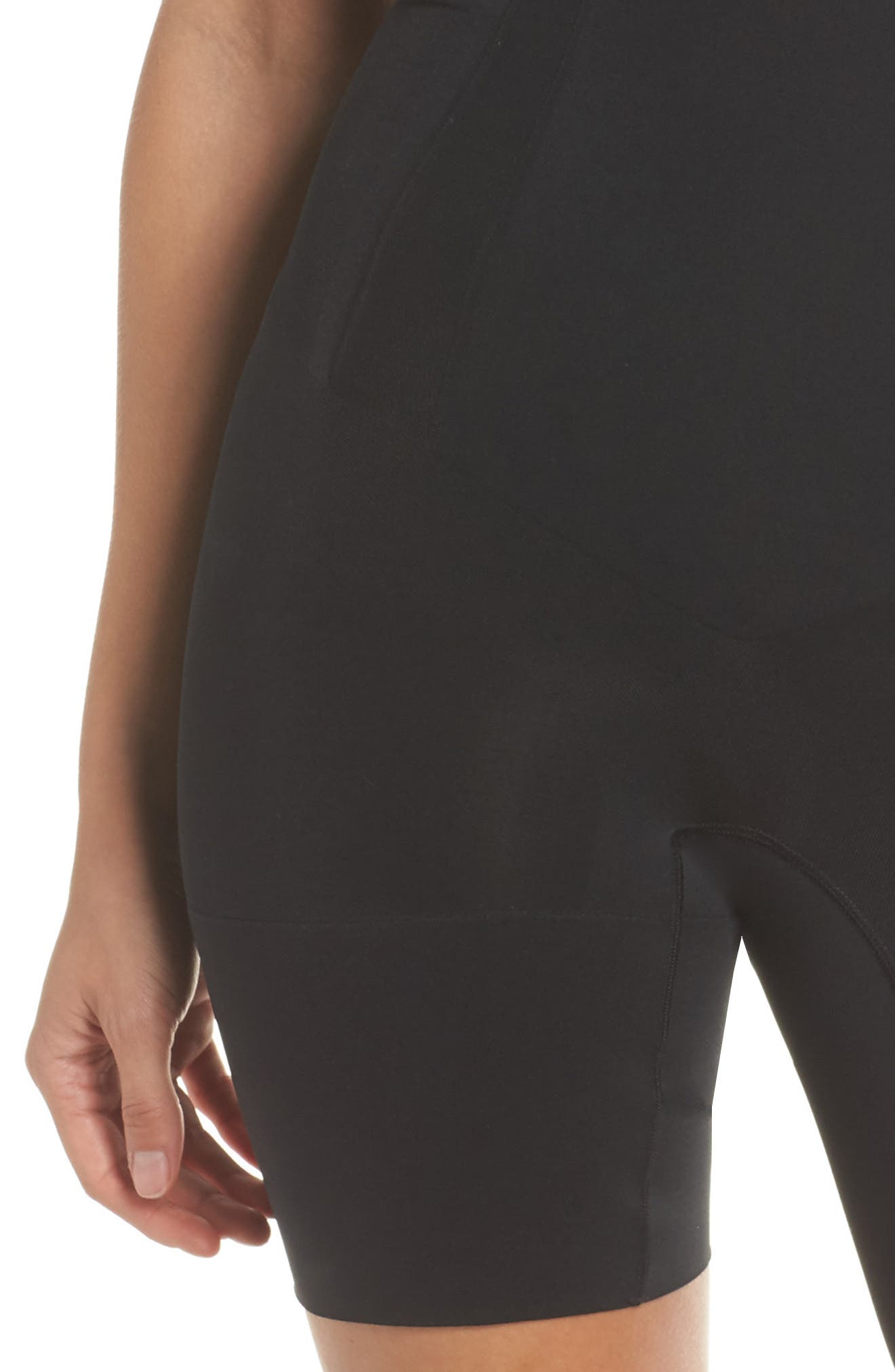 SPANX<SUP>®</SUP>,                             OnCore Open-Bust Mid-Thigh Shaper Bodysuit,                             Alternate thumbnail 4, color,                             VERY BLACK