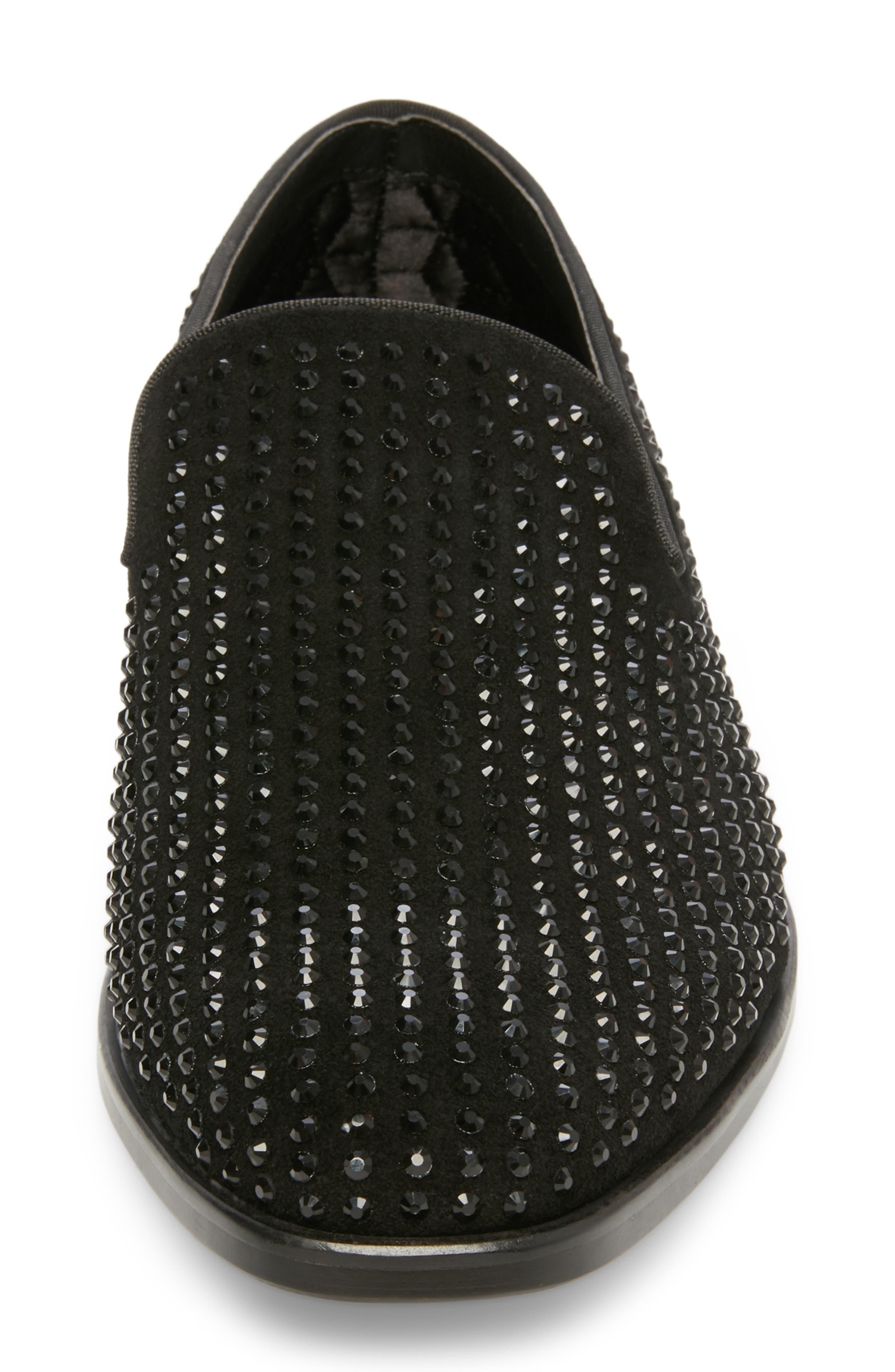 Falsetto Studded Venetian Loafer,                             Alternate thumbnail 4, color,                             BLACK