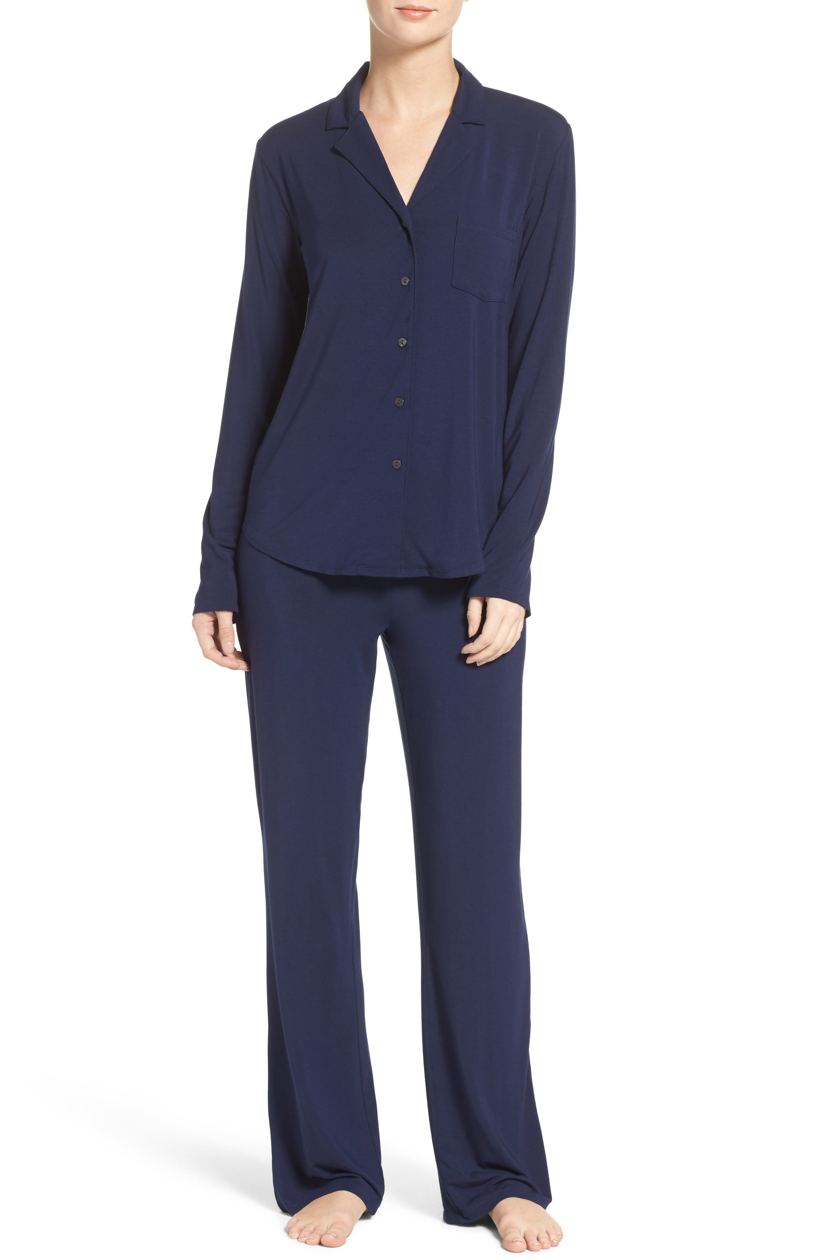 Stretch Modal Pajamas,                         Main,                         color, PEACOAT BLUE