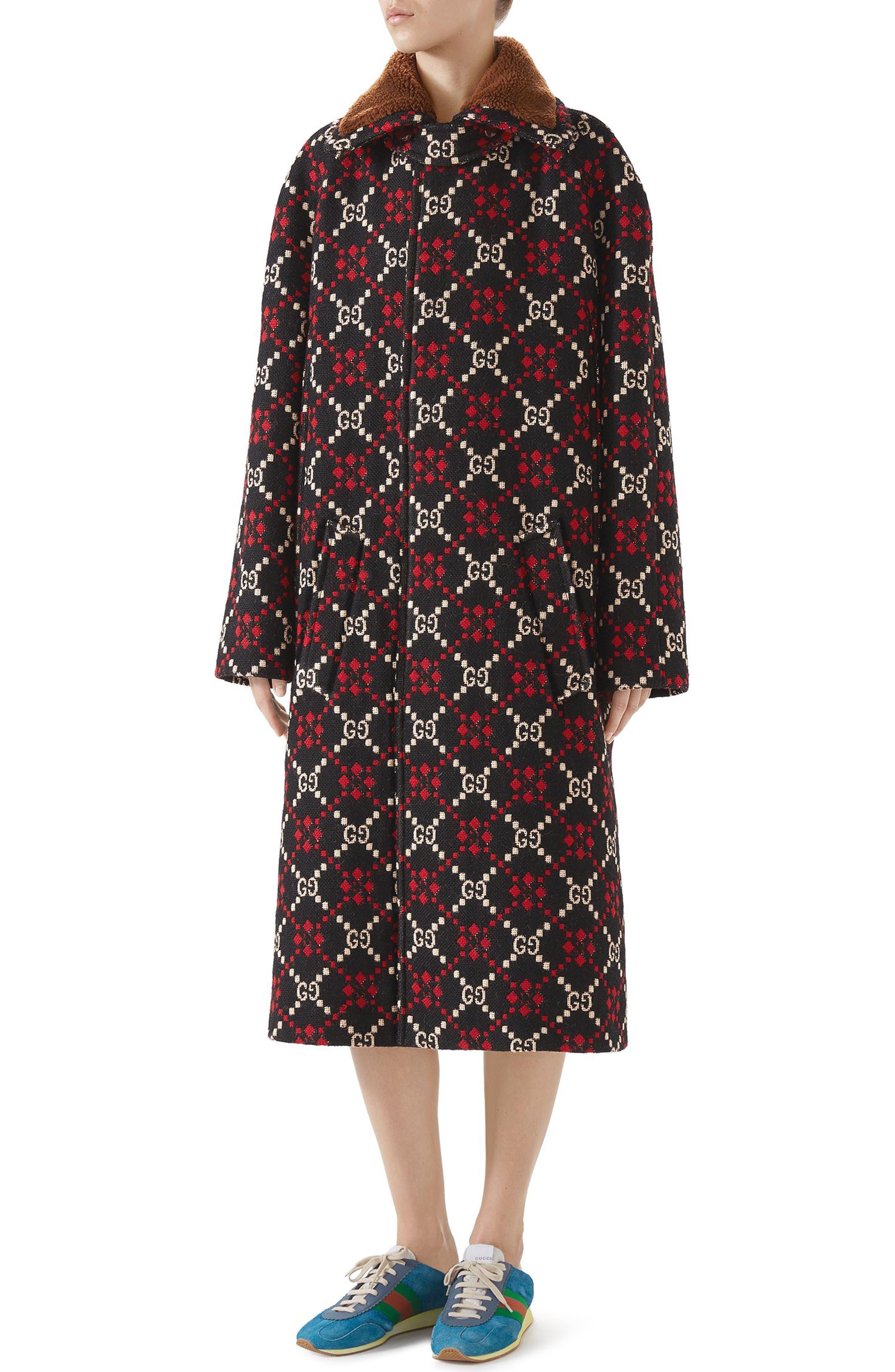 Vintage Coats & Jackets | Retro Coats and Jackets Womens Gucci Gg Logo Jacquard Cape Coat Size 4 US  40 IT - Black $4,980.00 AT vintagedancer.com
