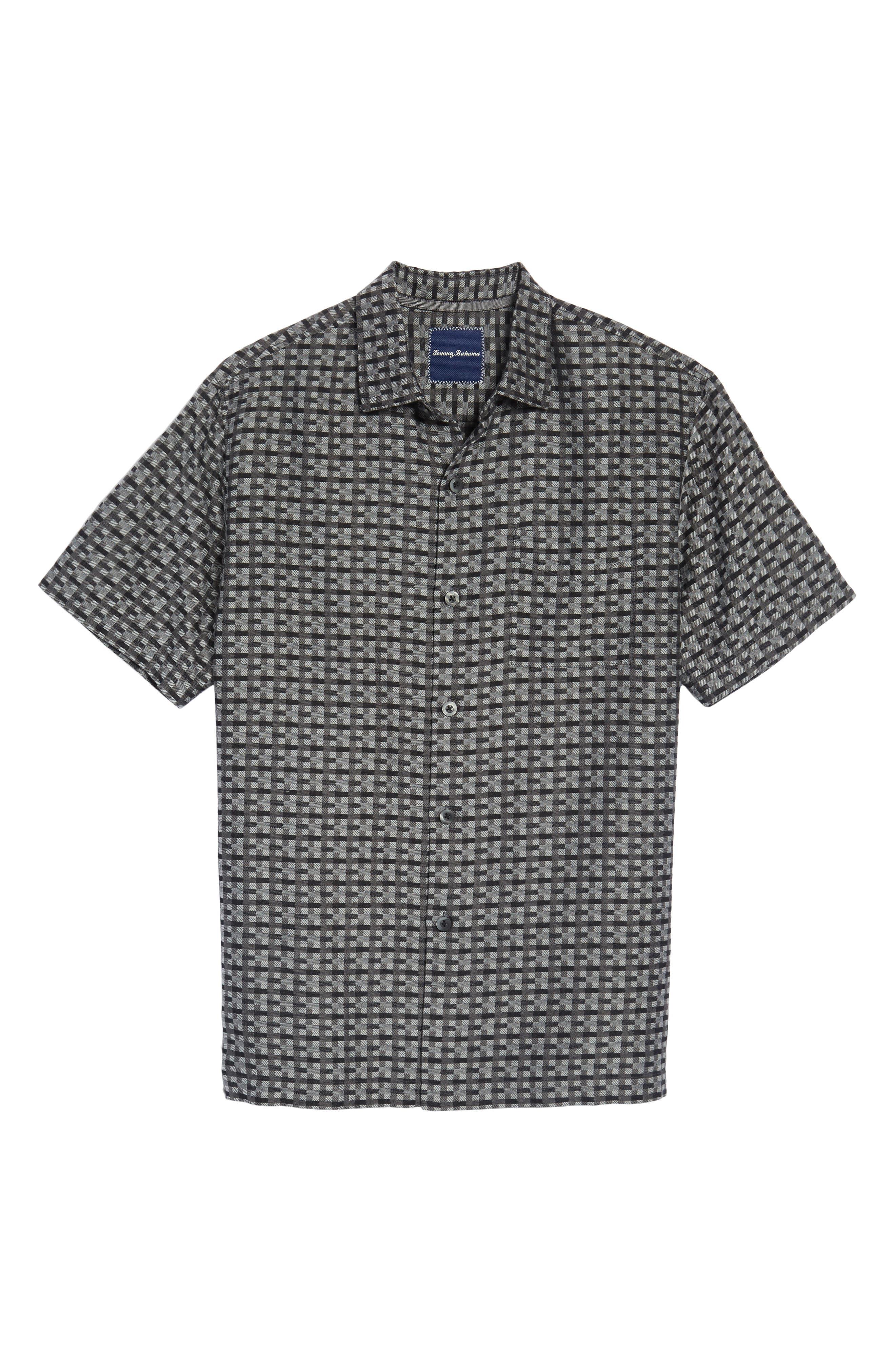 Moroccan Squares Standard Fit Silk Blend Camp Shirt,                             Alternate thumbnail 11, color,