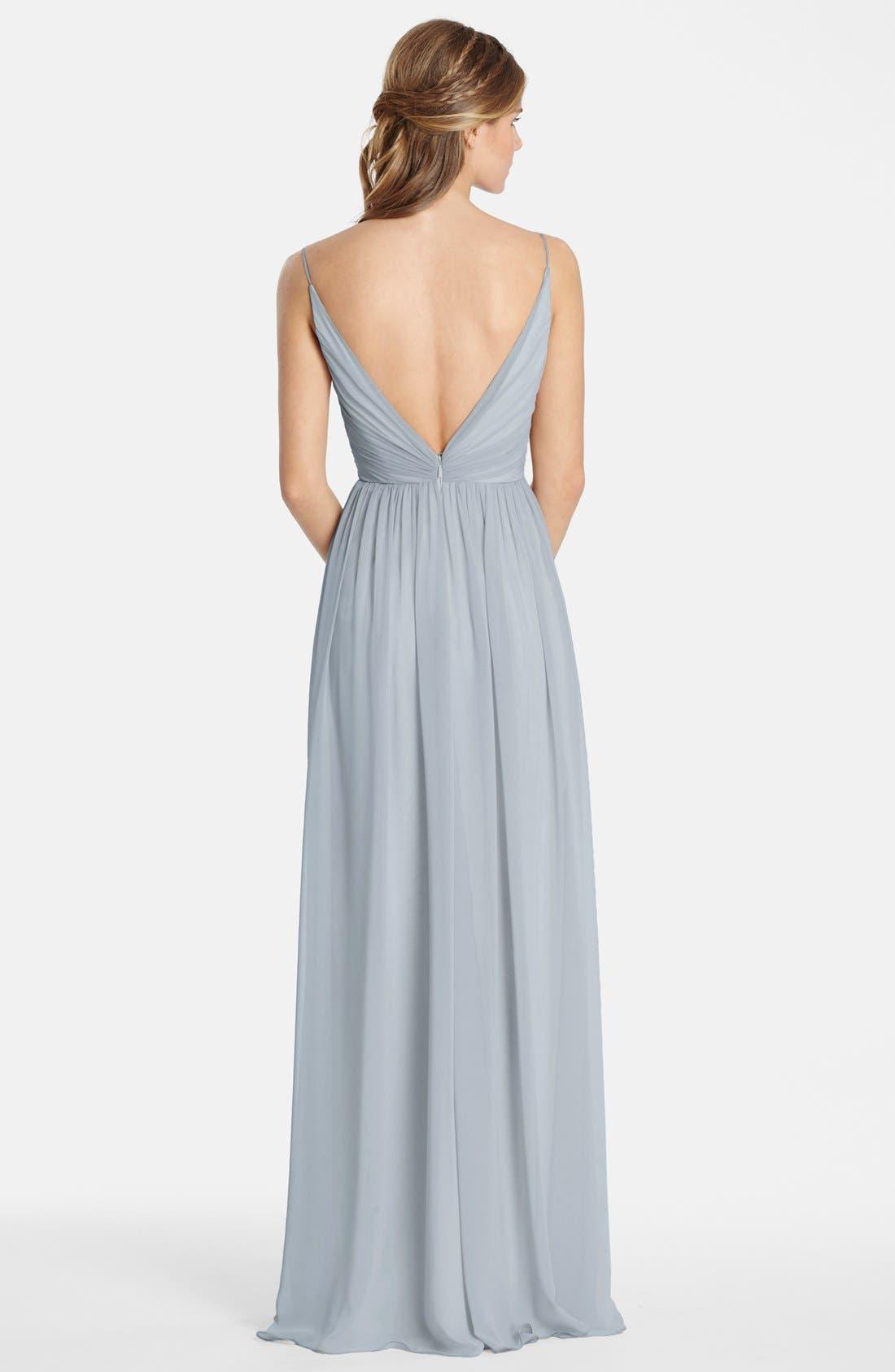 Draped V-Neck Chiffon Gown,                             Alternate thumbnail 3, color,                             040