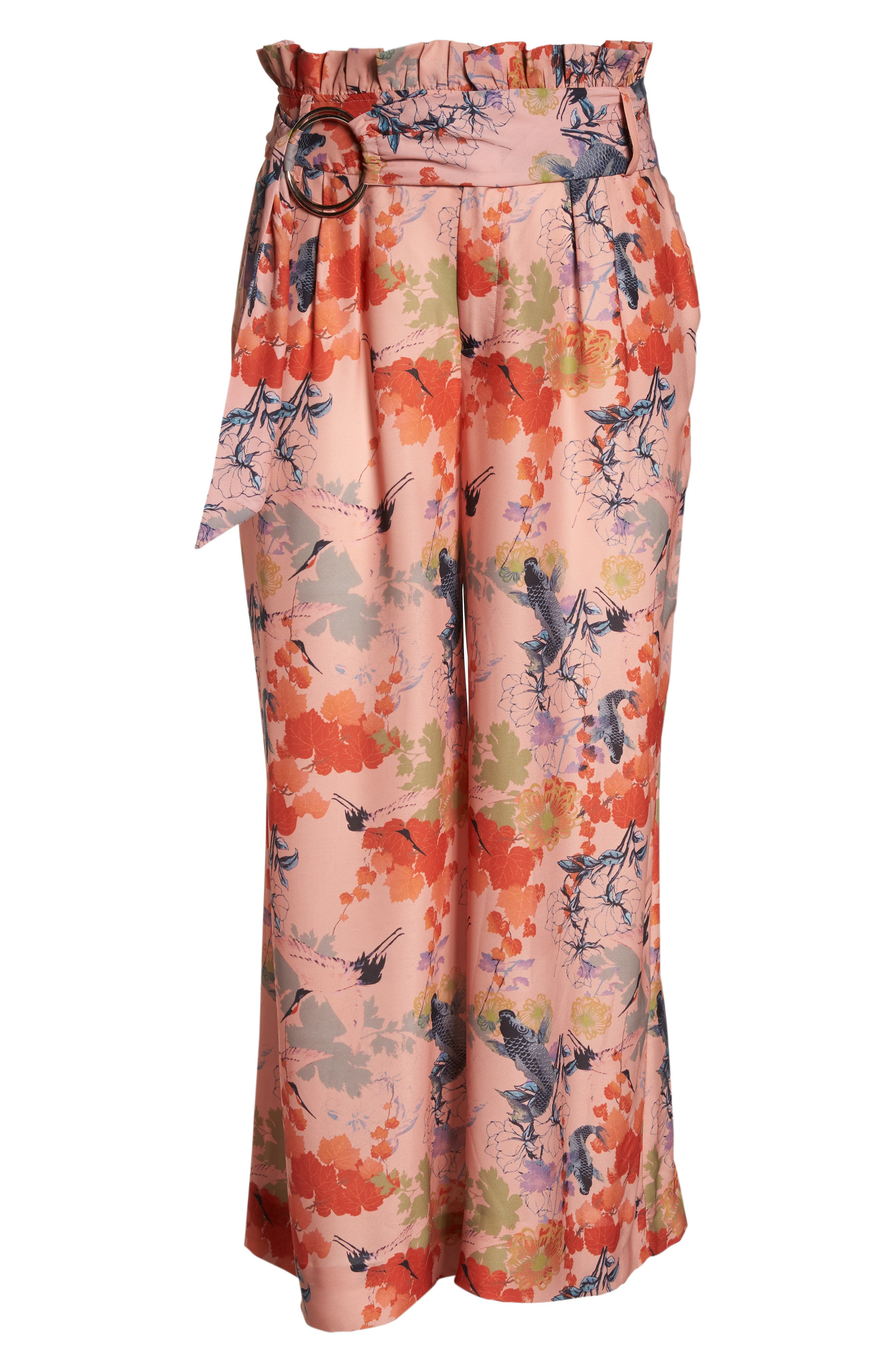 Print Belted Wide Leg Paperbag Trousers,                             Alternate thumbnail 6, color,